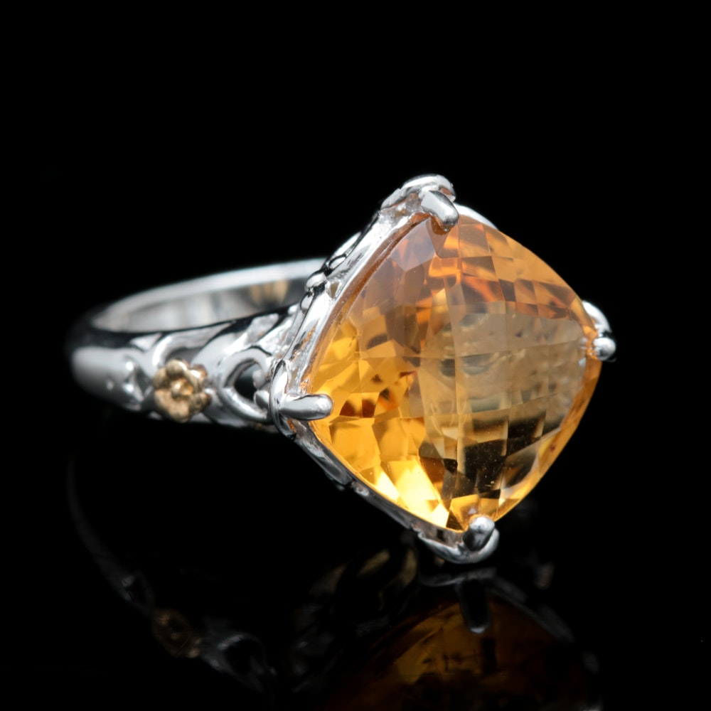 Sterling Silver, 14K Yellow Gold and Citrine Ring