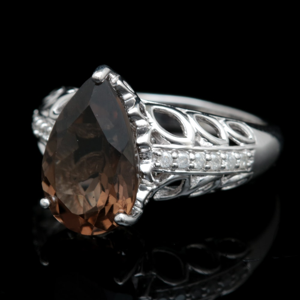 Sterling Silver, Smoky Quartz and Diamond Ring