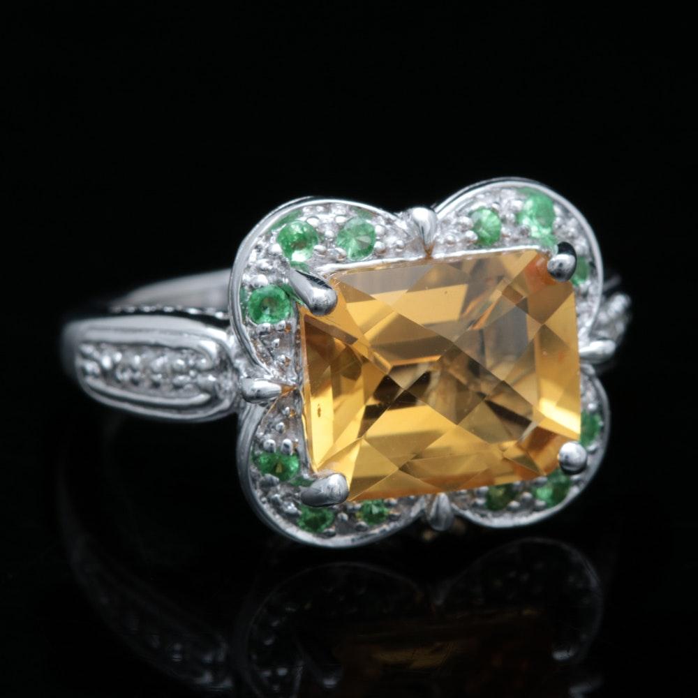 Sterling Silver, Citrine, Tsavorite Garnet, and Diamond Ring