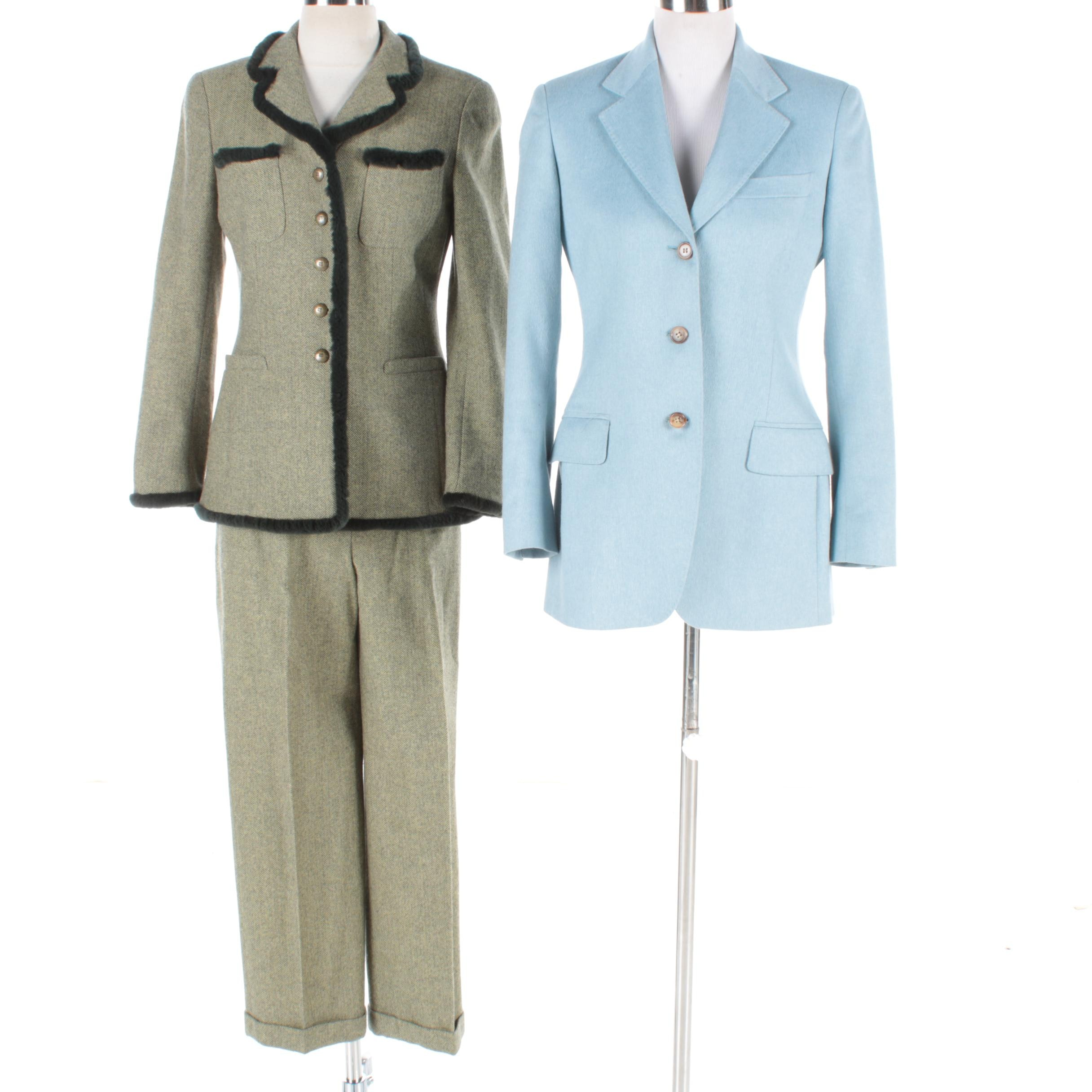 Women's Vintage Rena Lang Pant Suit and Loro Piana Suit Jacket