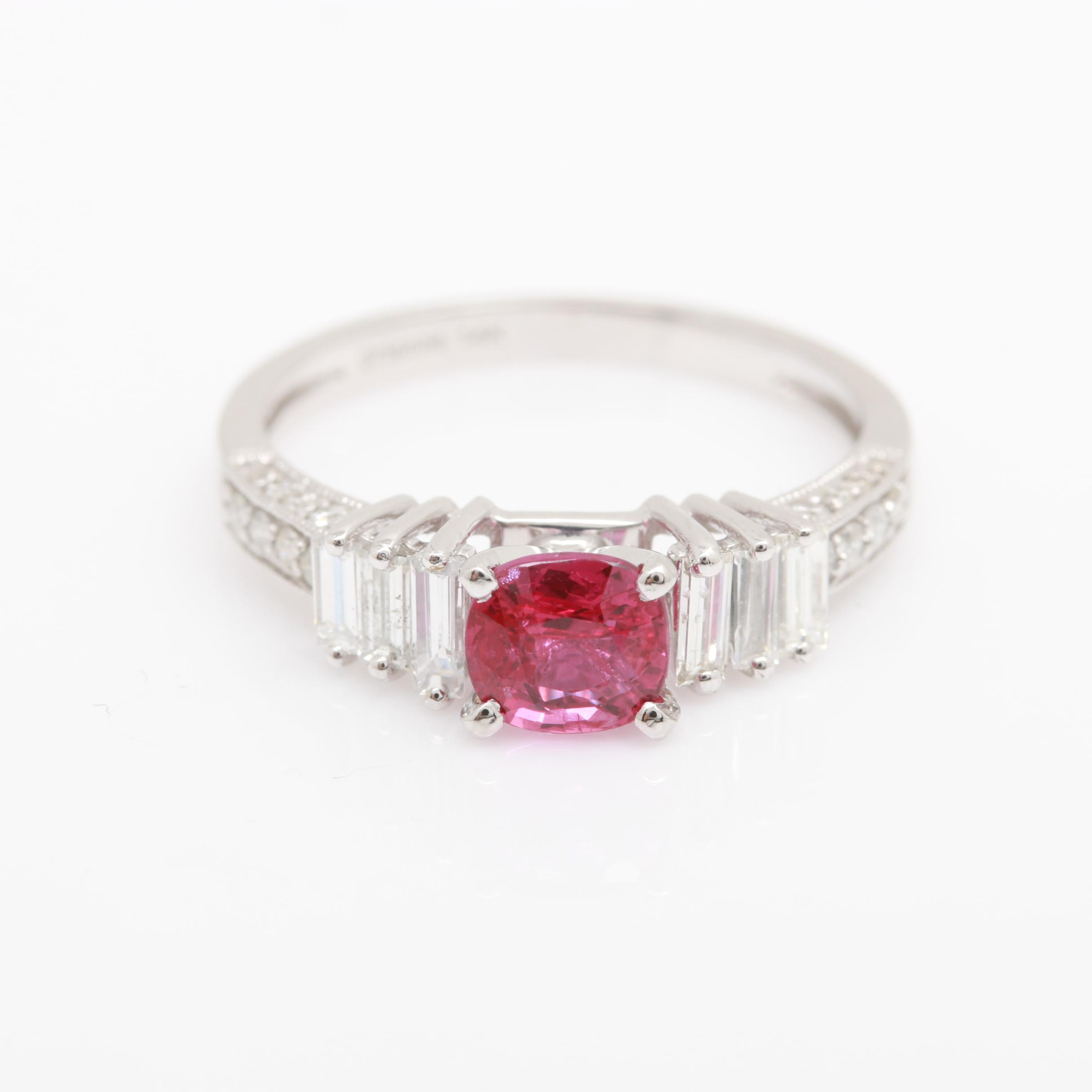 14K White Gold Untreated 1.05 CT Ruby and Diamond Ring With GIA Report