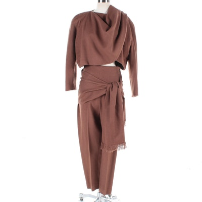 Women's Bill Kaiserman Brown Avant Garde Pantsuit, Made in Italy