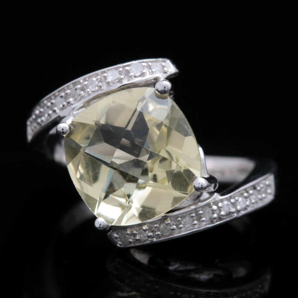 Sterling Silver, Lemon Quartz and Diamond Ring