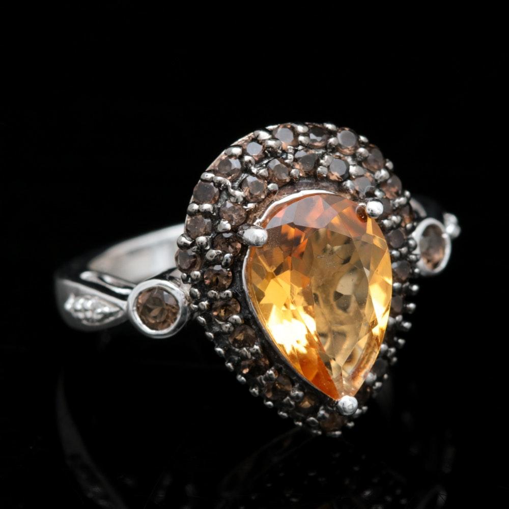Sterling Silver, Citrine and Smoky Quartz Ring