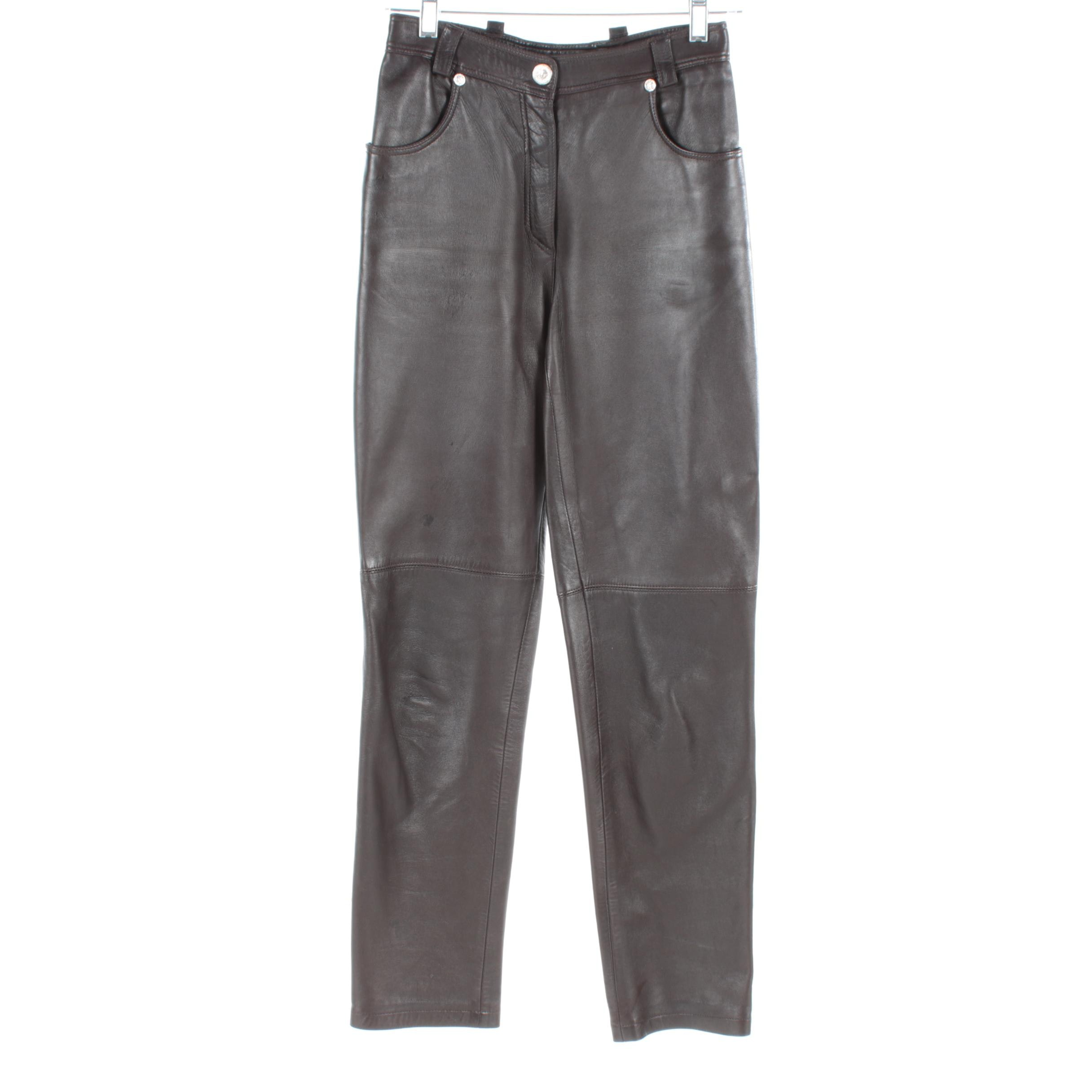 Circa 1980s Vintage Gianni Versace Lambskin Pants