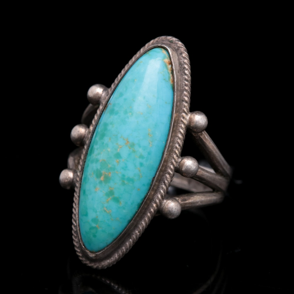 Sterling Silver and Turquoise Cabochon Ring