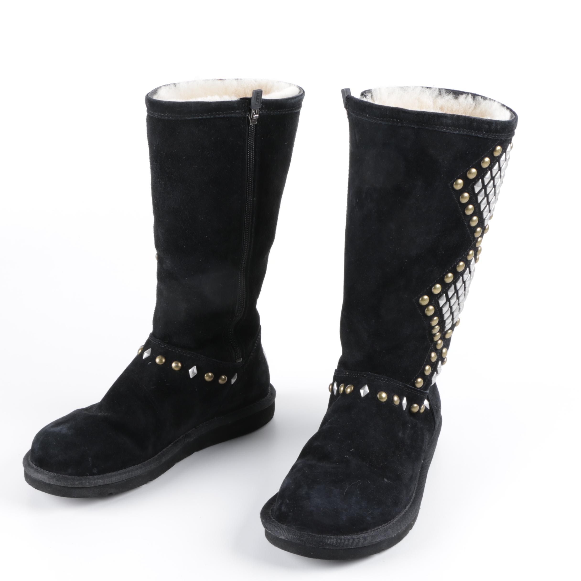 Women's Ugg Australia Studded Black Suede Boots with Sheepskin Lining