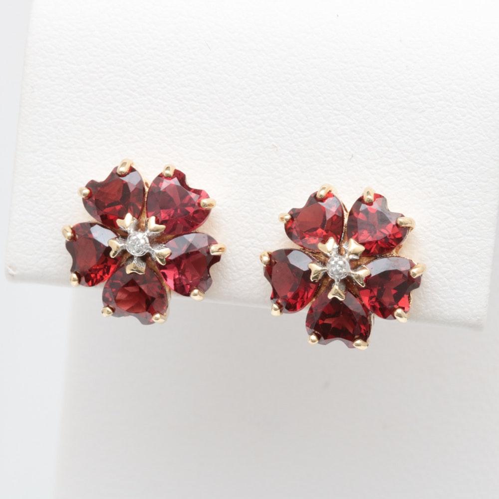 10K Yellow Gold, Garnet and Diamond Flower Earrings