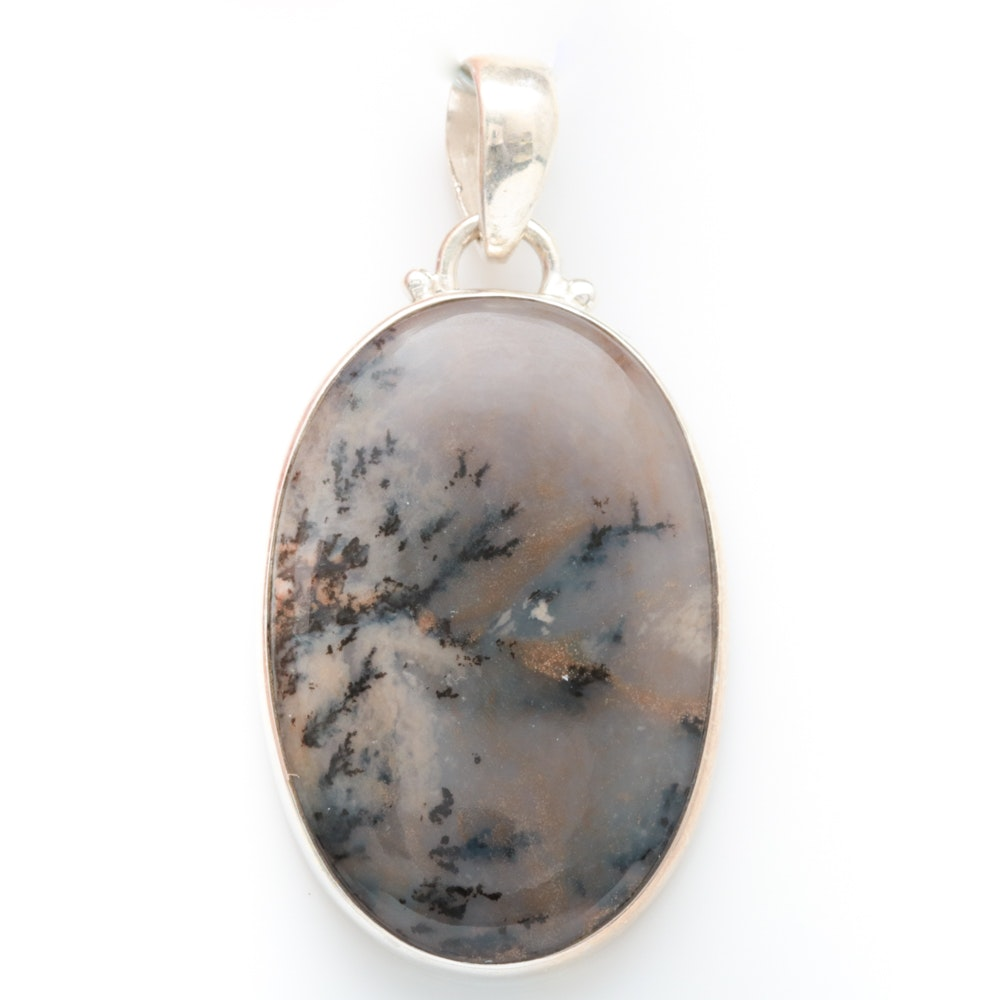 Sterling Silver and Moss Agate Pendant