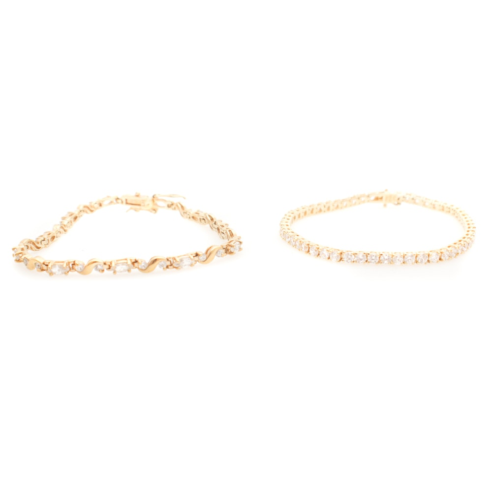 Gold Wash over Sterling Silver Cubic Zirconia Tennis Bracelets