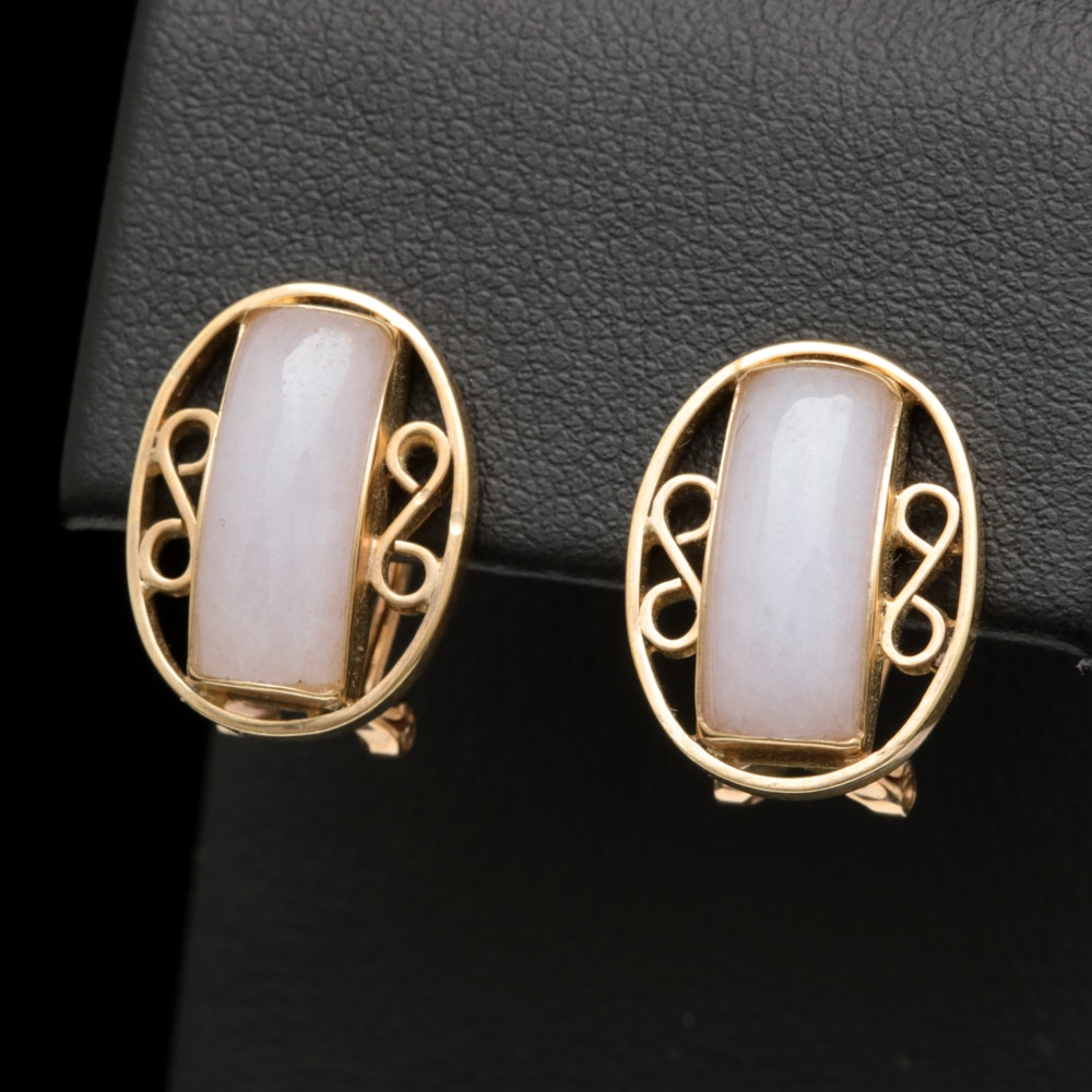 14K Yellow Gold and Purple Jadeite Cabochon Earrings