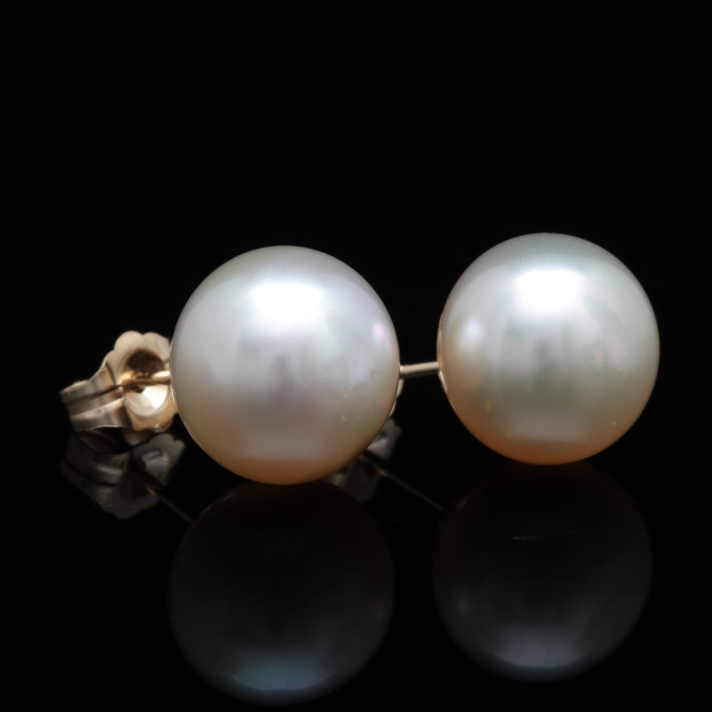 14K Yellow Gold and Pearl Stud Earrings