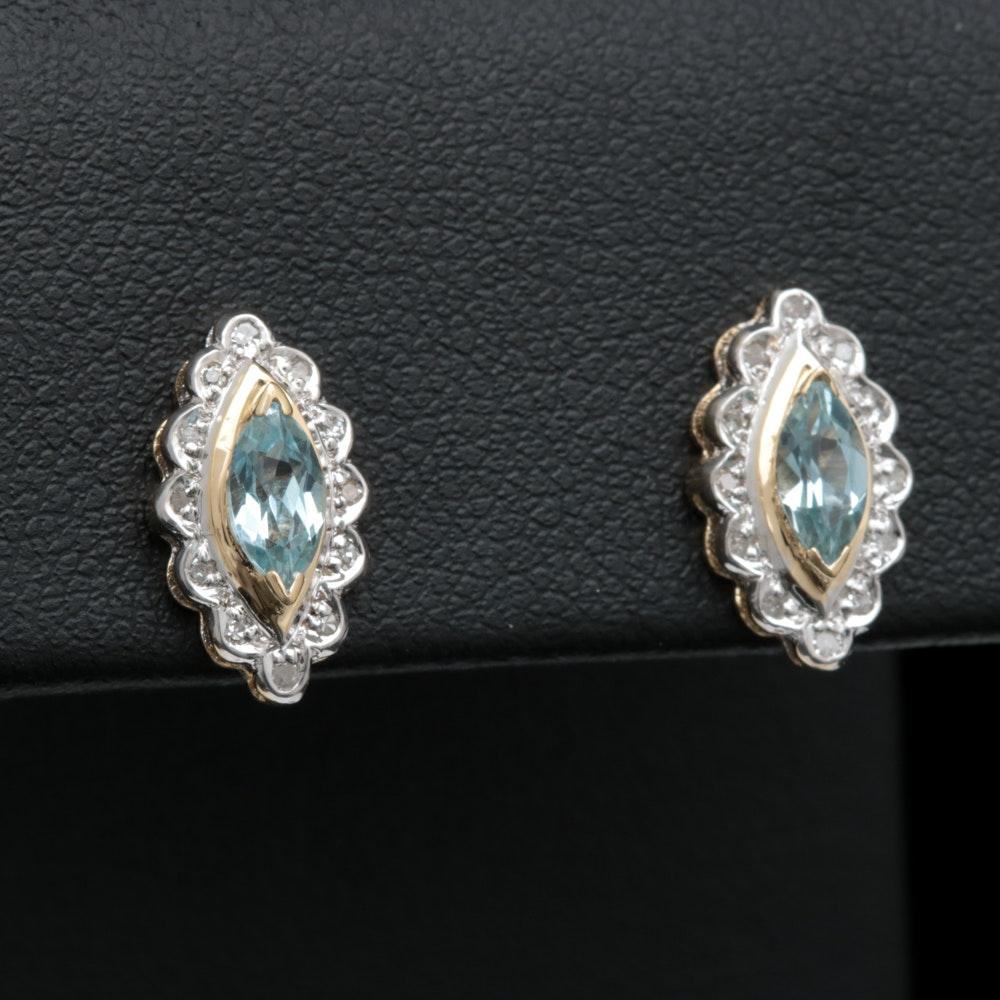 14K Two-Tone Gold, Blue Topaz and Diamond Earrings