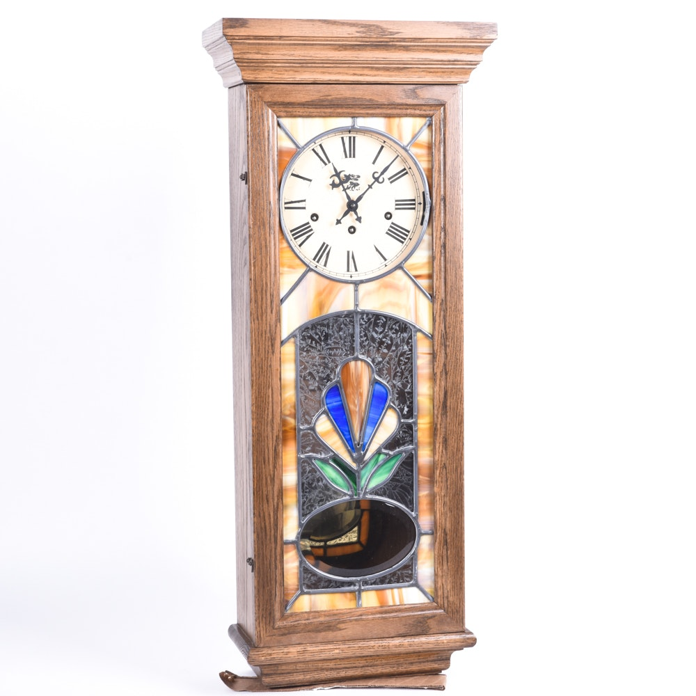 San Francisco Clock Company Stained Glass Wall Clock