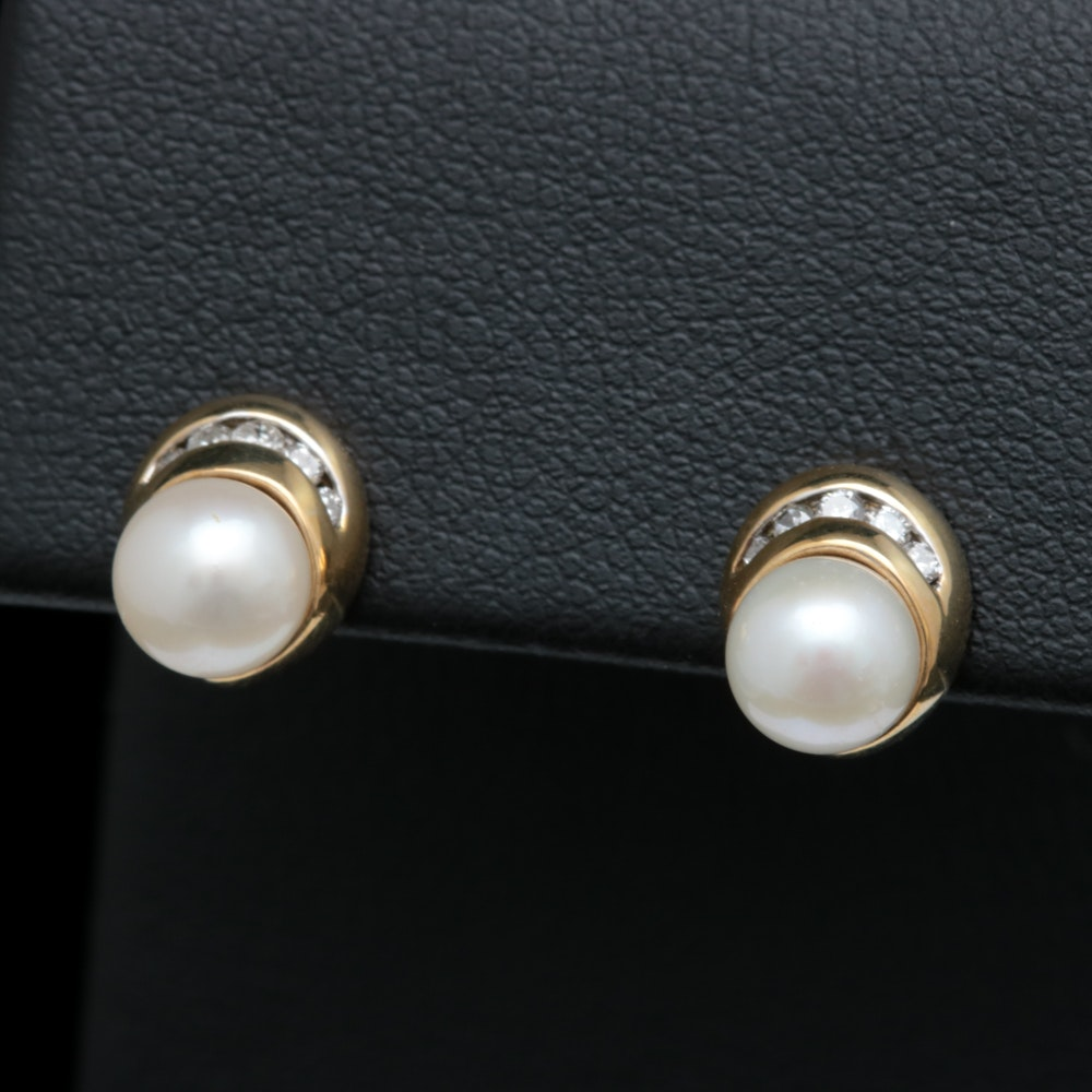10K Yellow Gold, Pearl and Diamond Earrings