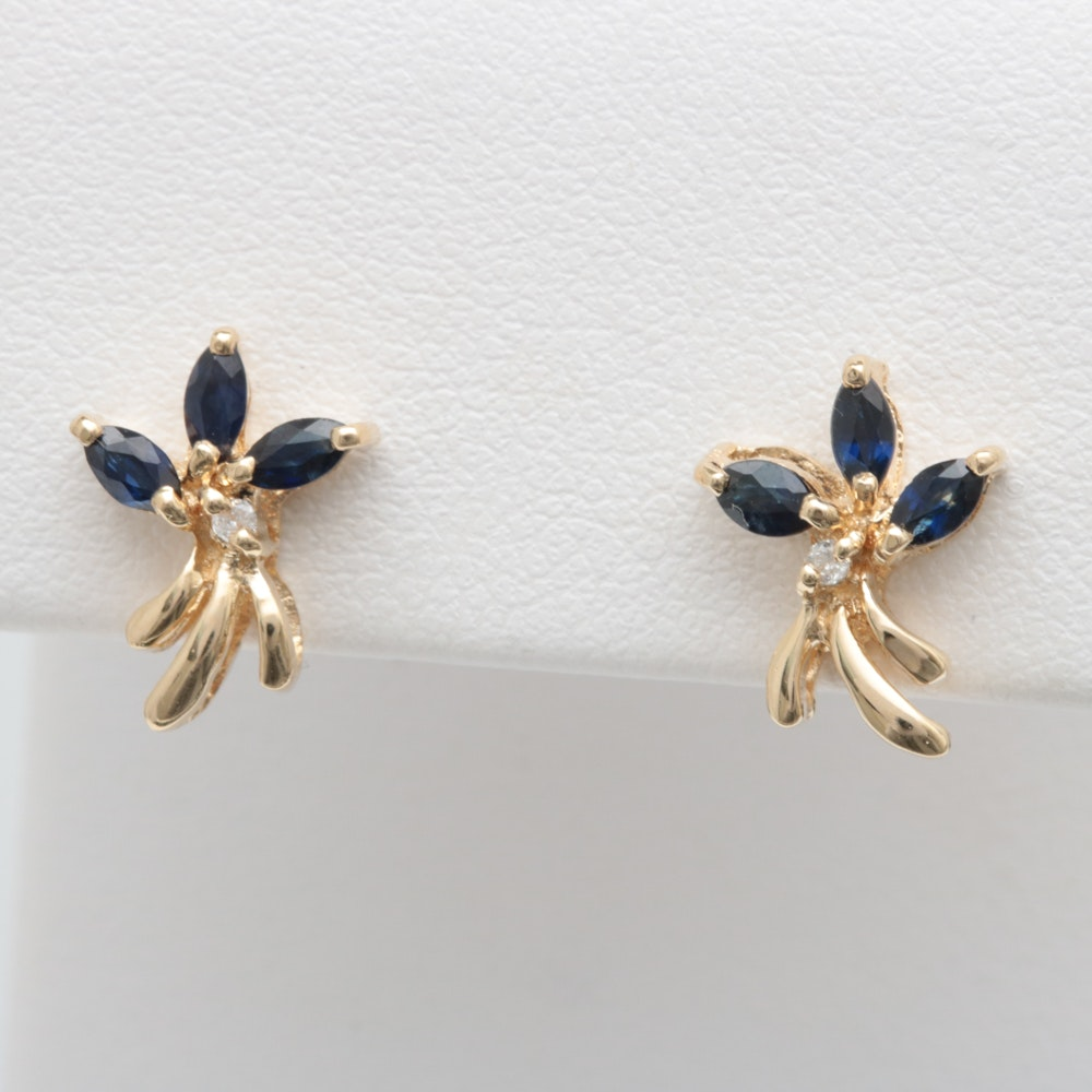 14K Yellow Gold, Blue Sapphire and Diamond Earrings
