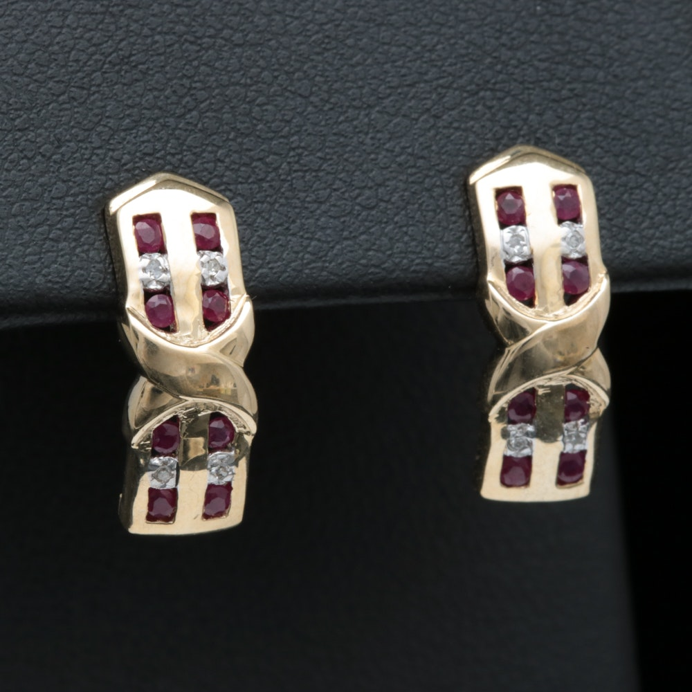 10K Yellow Gold, Ruby and Diamond Earrings
