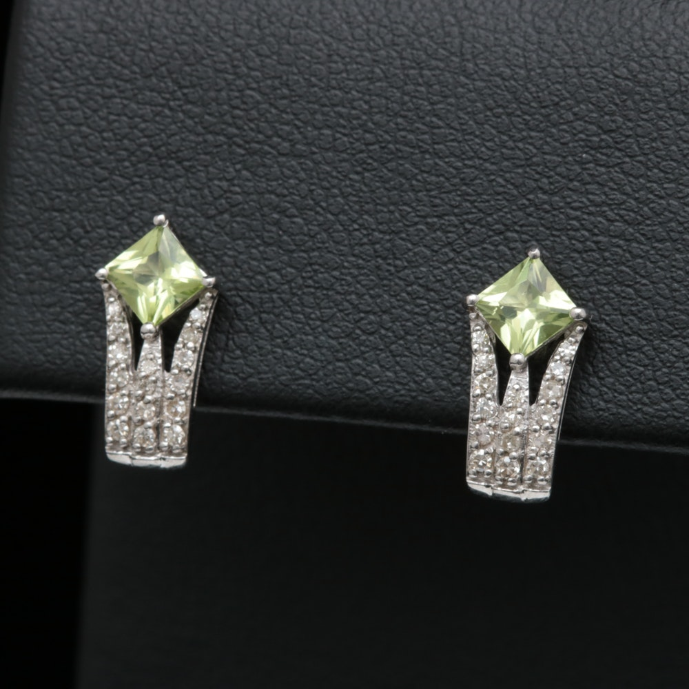 Sterling Silver, Peridot and Diamond Earrings