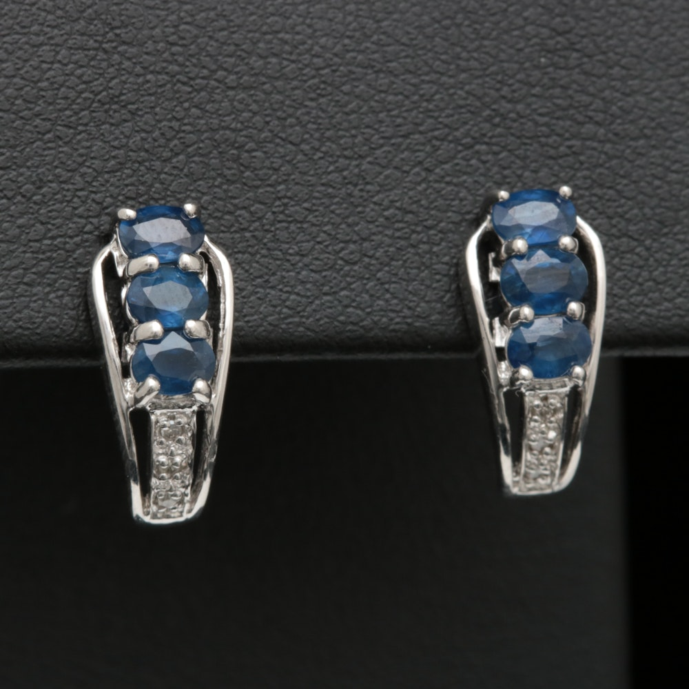 Sterling Silver, Blue Sapphire and Diamond Earrings