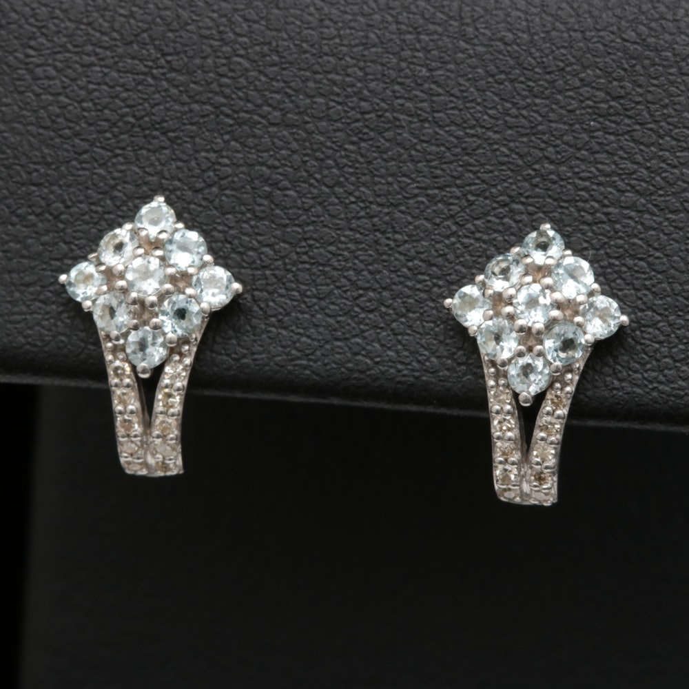 Sterling Silver, Aquamarine and Diamond Earrings