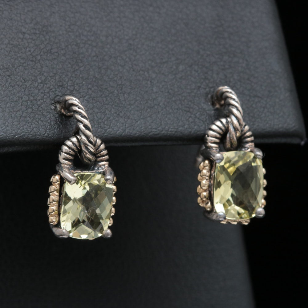 Sterling Silver, 14K Yellow Gold and Lemon Quartz