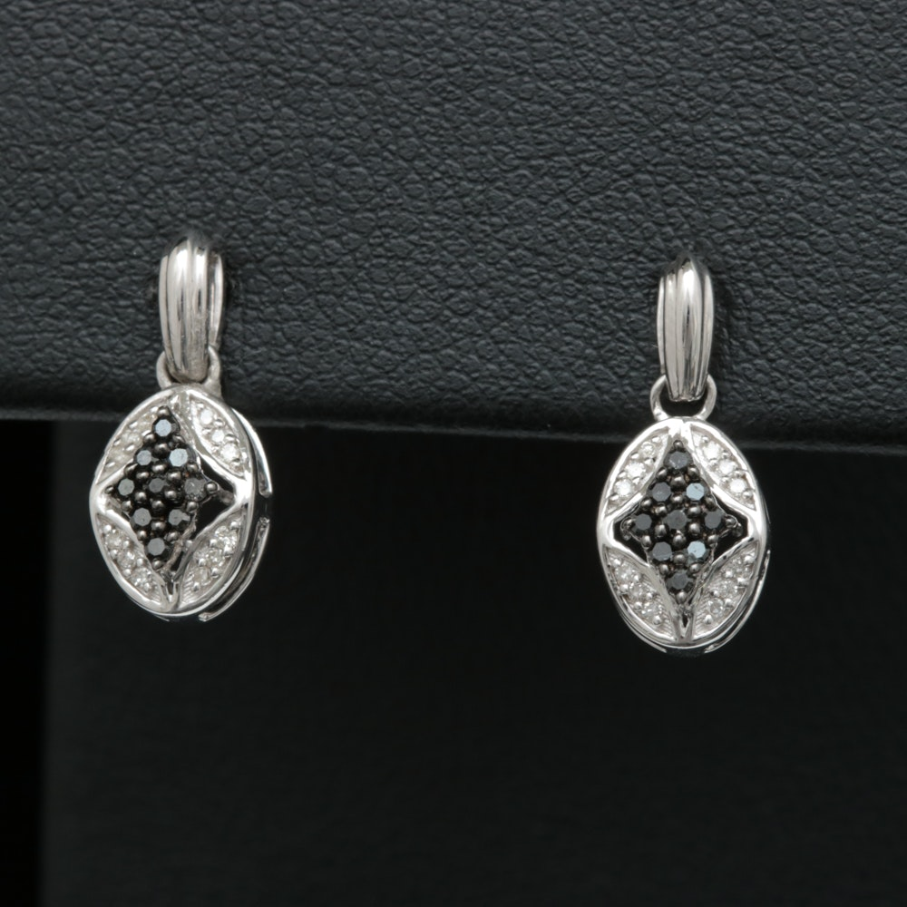 Sterling Silver, Black and White Diamond Earrings