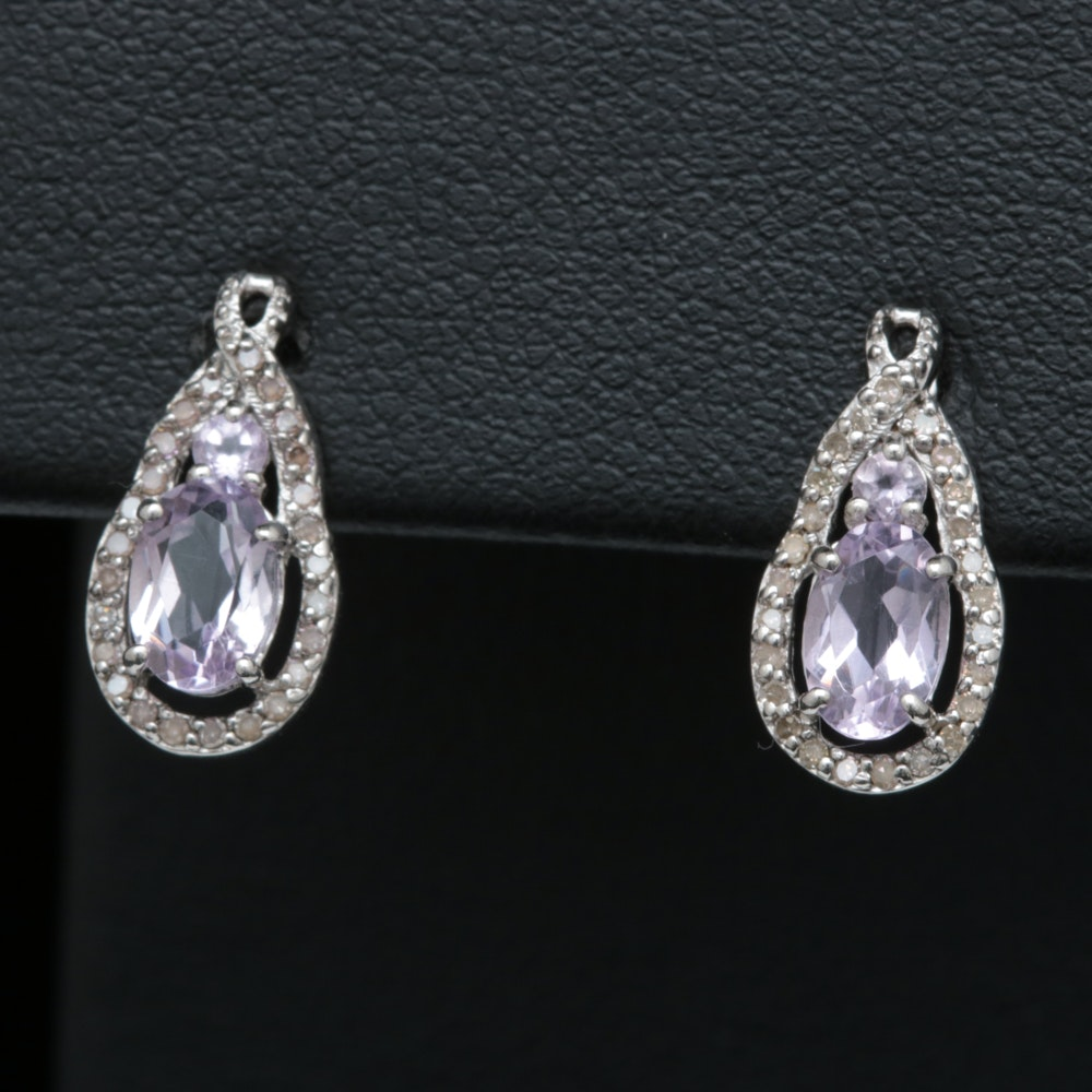 Sterling Silver, Pink Quartz and Diamond Earrings