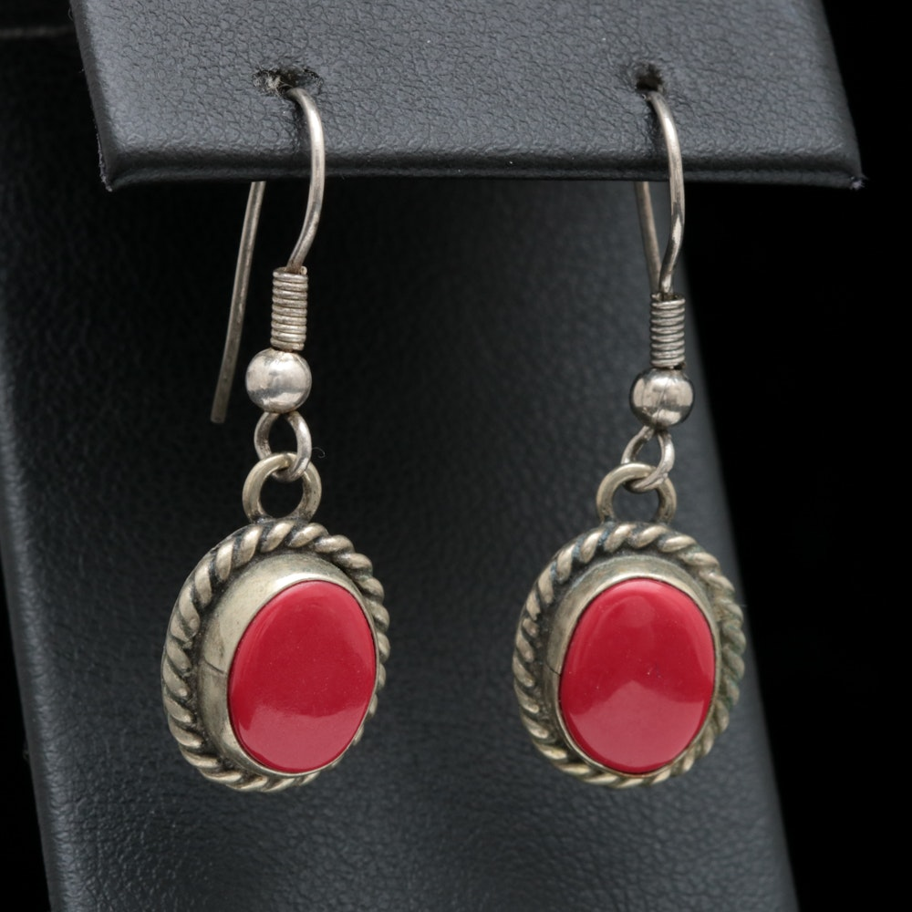 Sterling Silver and Imitation Coral Dangle Earrings
