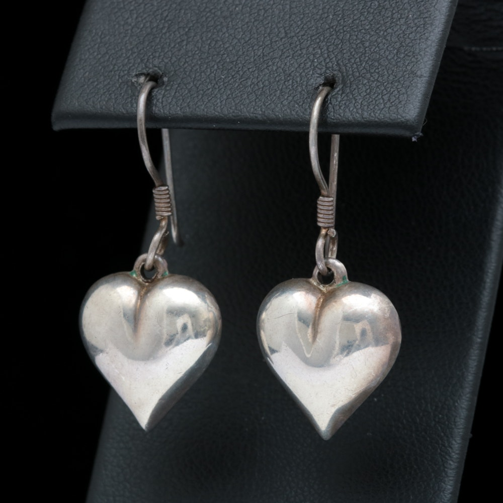 Sterling Silver and Puffy Heart Charm Dangle Earrings