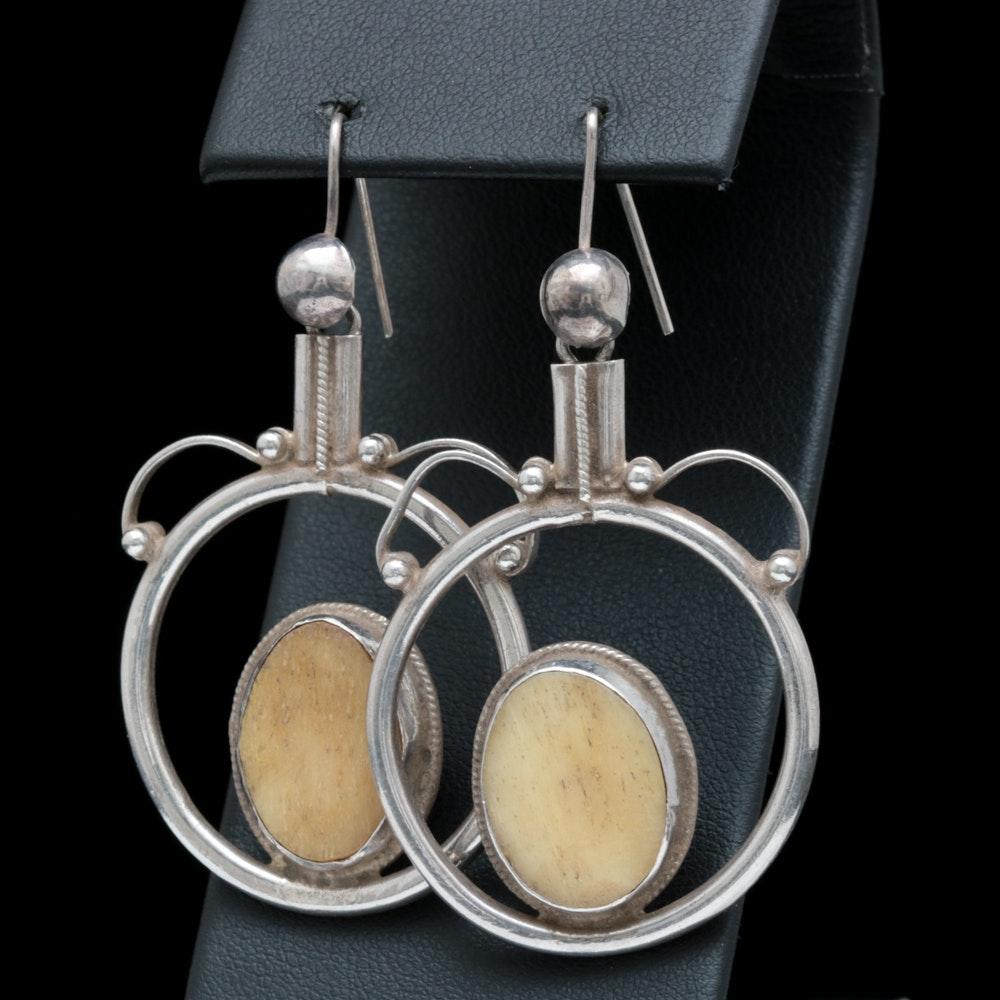 Sterling Silver and Bone Dangle Earrings