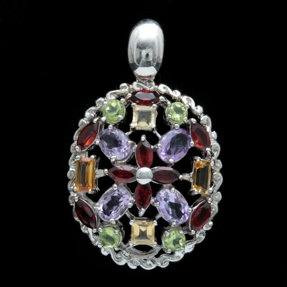 Sterling Silver and Multi-Gemstone Pendant