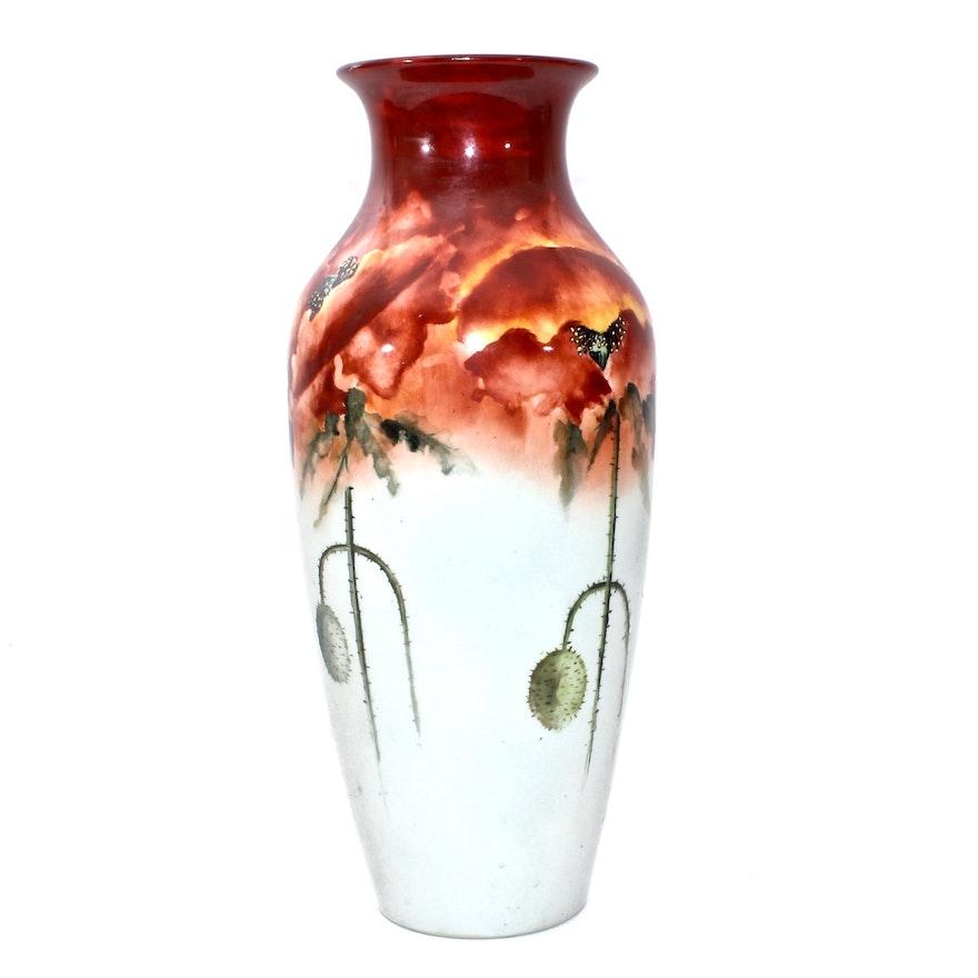 Antique Belleek Willets Hand Painted Vase Ebth