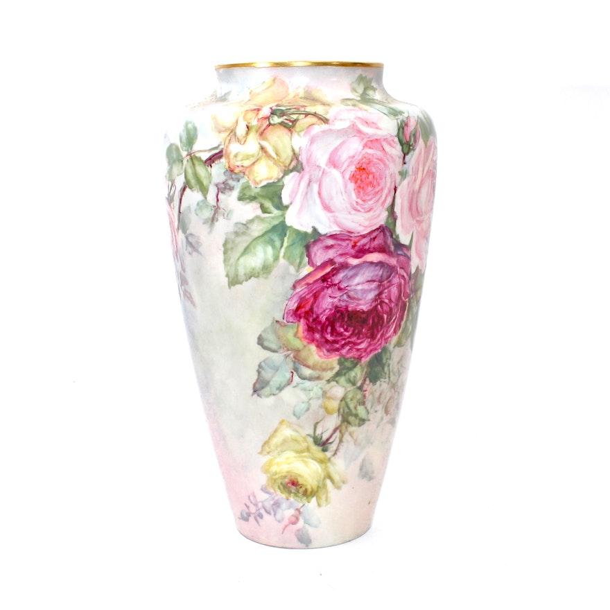 Antique Belleek Willets Hand Painted Rose Vase Ebth
