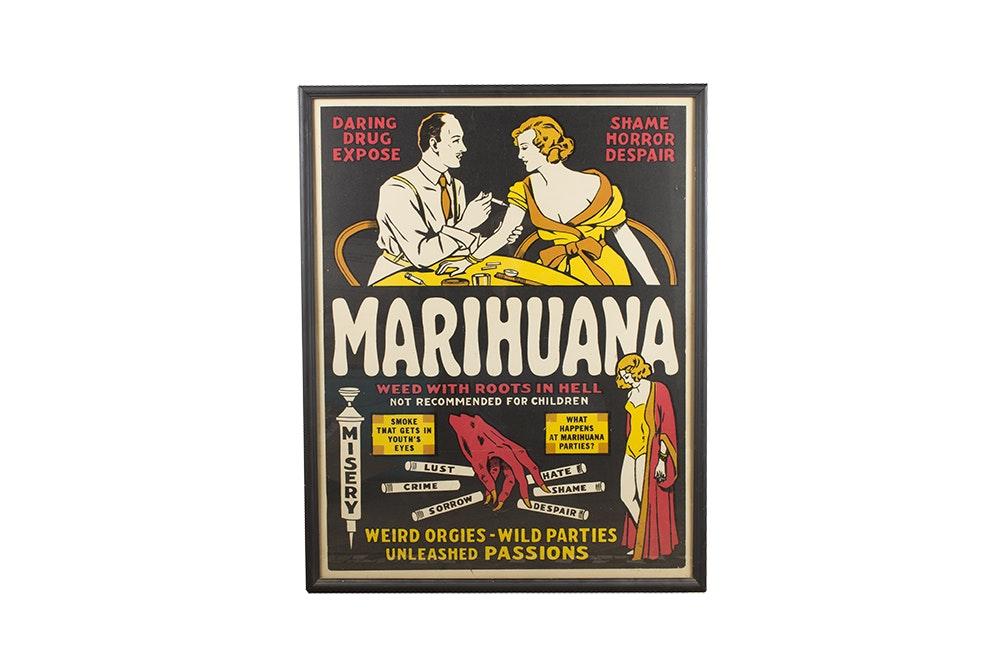 """Marihuana"" Film Poster in Frame"