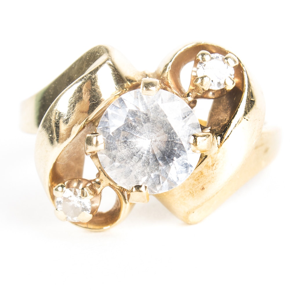 14K Yellow Gold Cubic Zirconia and Diamond Ring