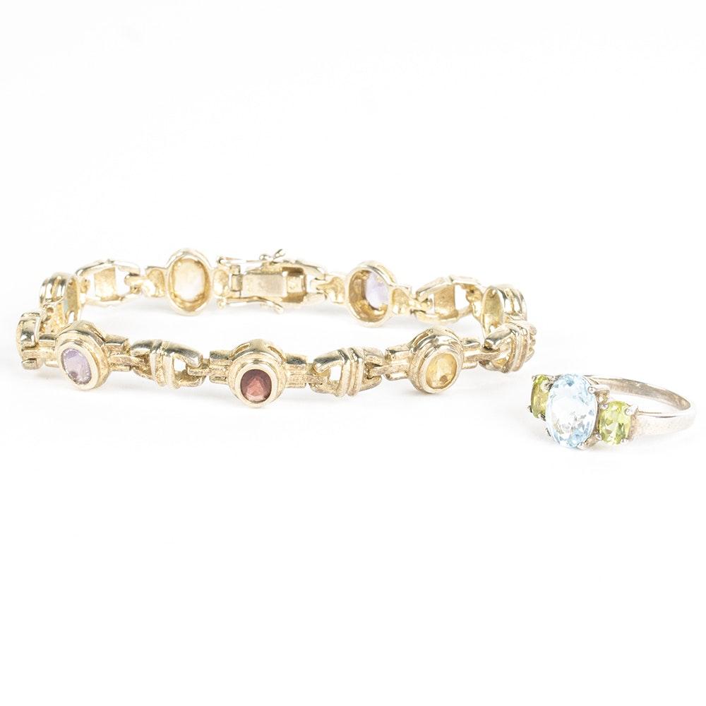 Sterling Silver Gold Wash Gemstone Jewelry Set