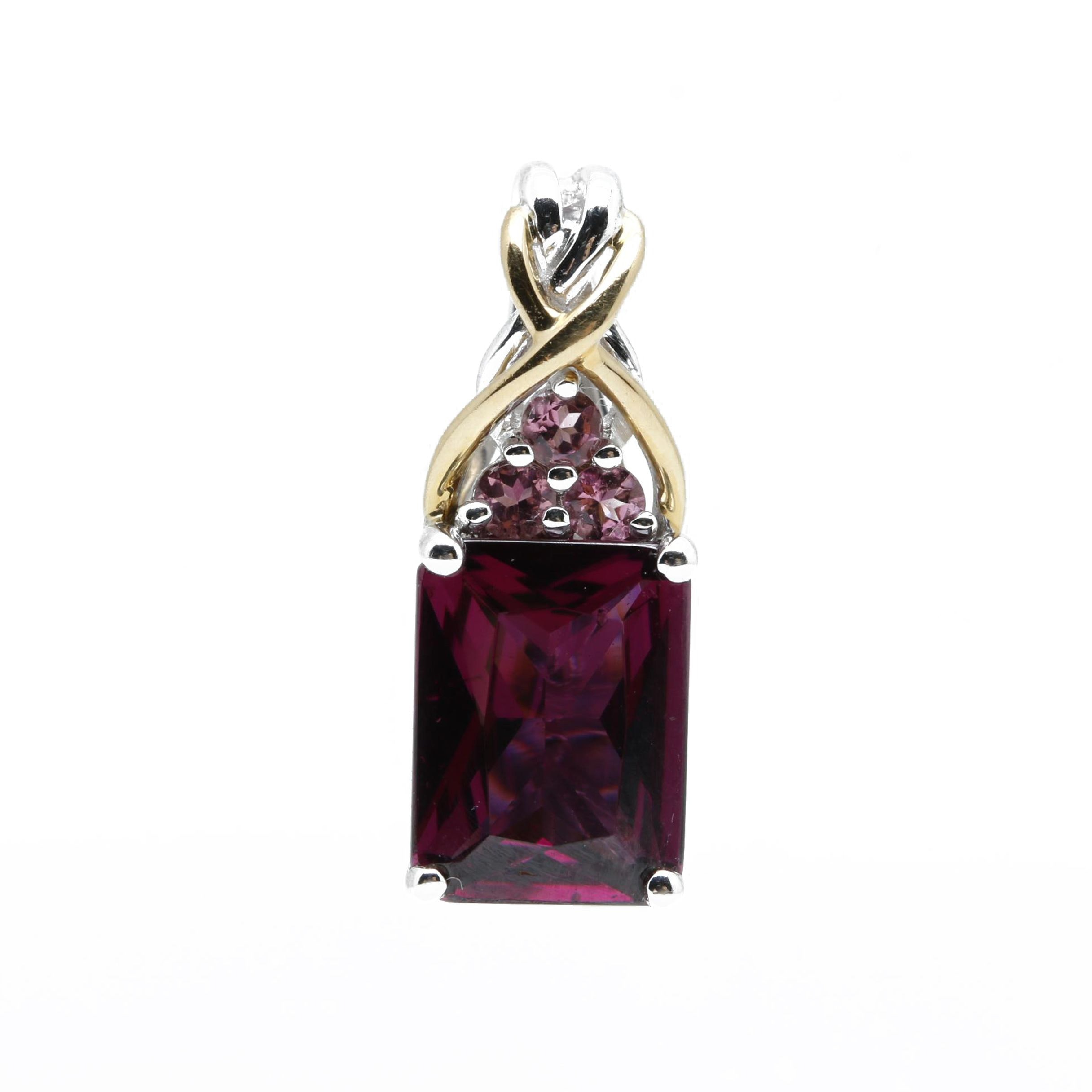 18K White Gold Rhodolite Garnet Pendant with 18K Yellow Gold Accents