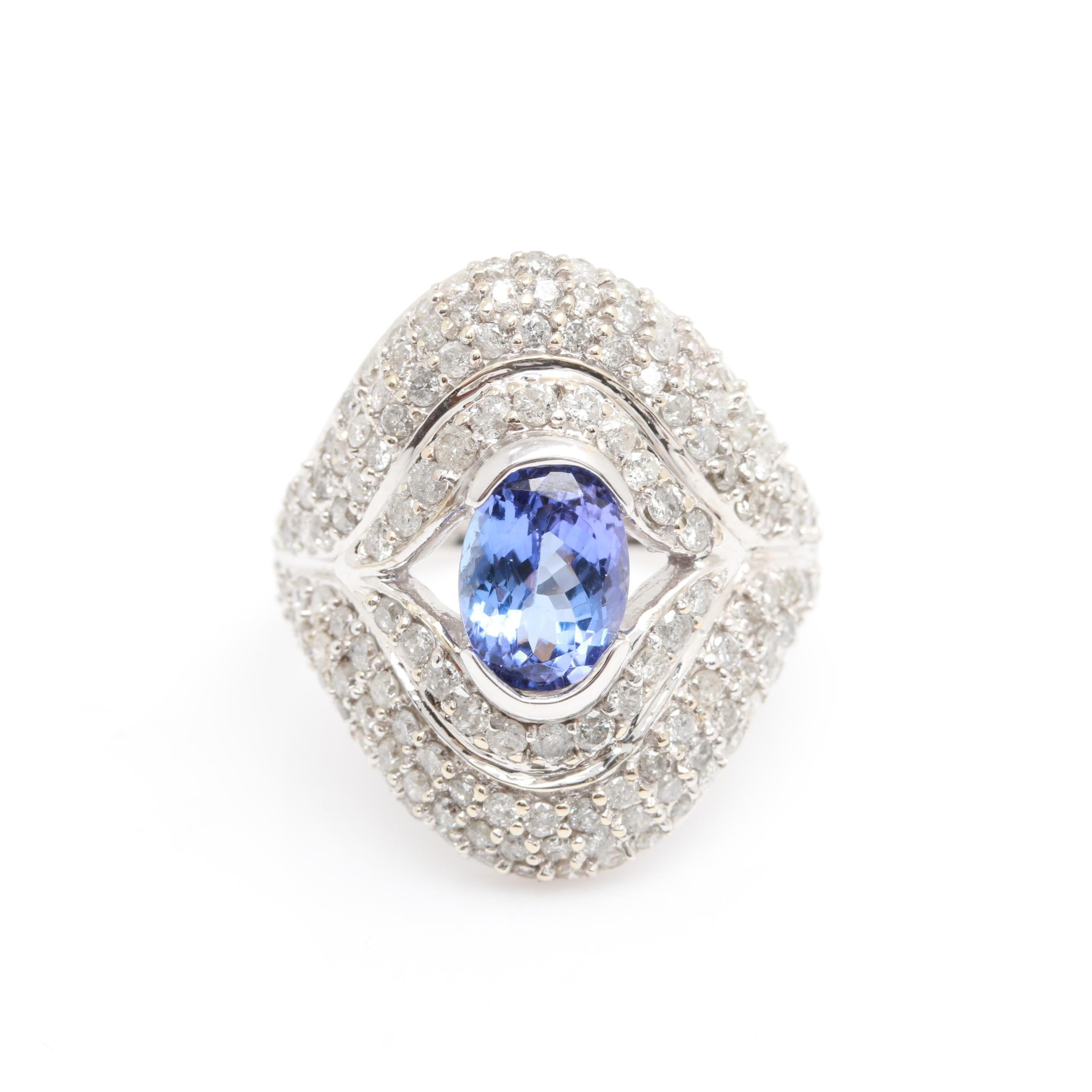 14K White Gold Tanzanite and 1.82 CTW Diamond Statement Ring