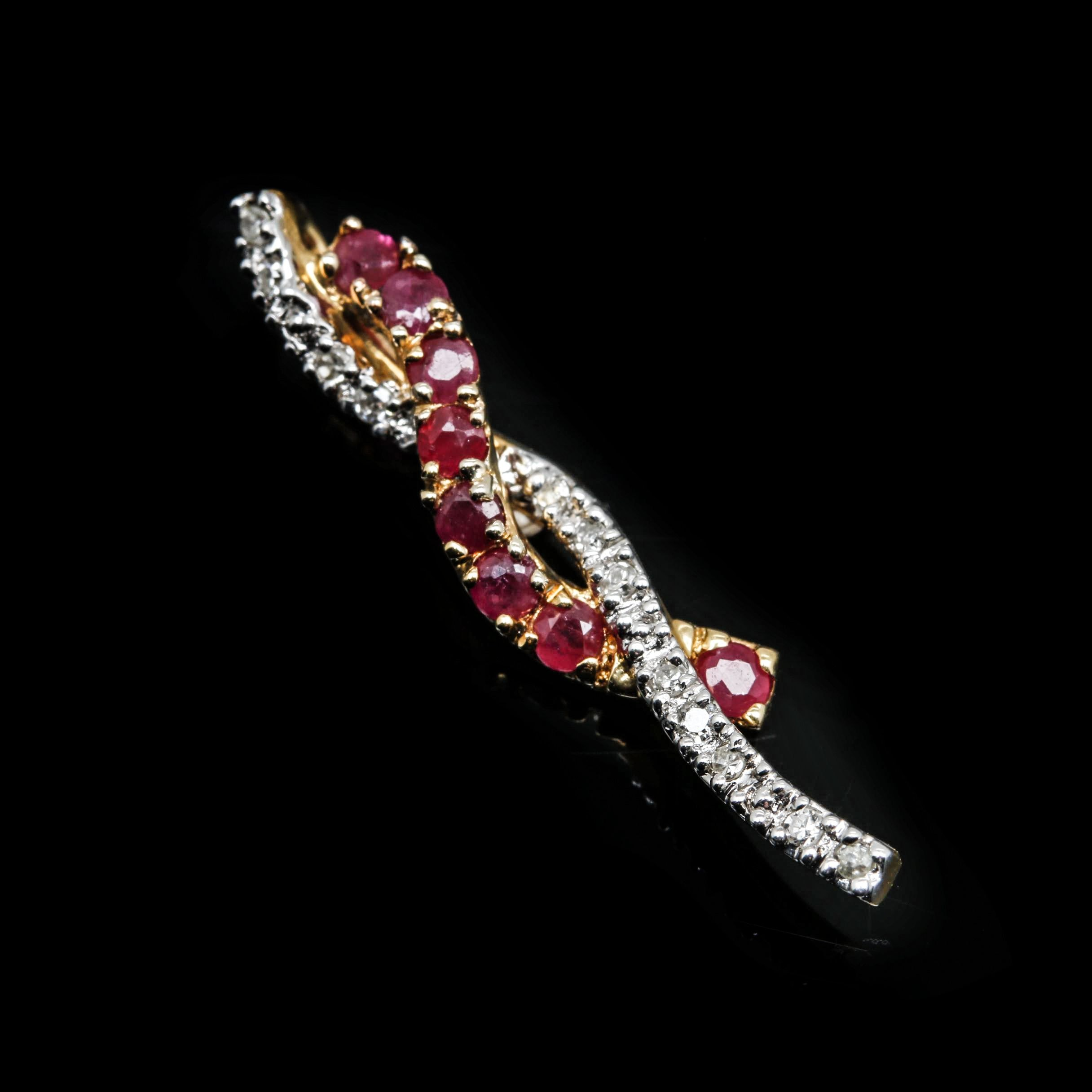 18K Yellow Gold Ruby and Diamond Slide Pendant