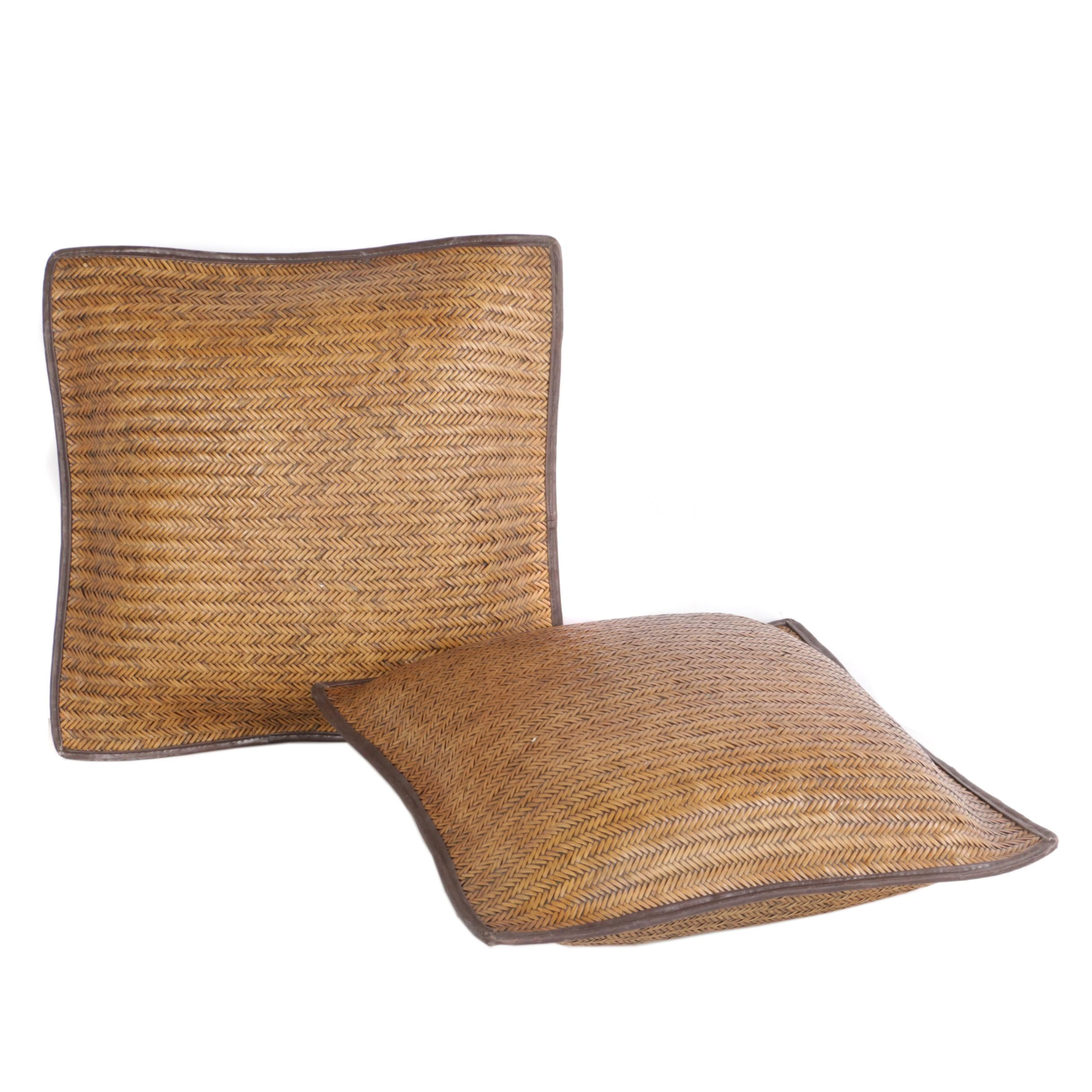 Brown Oversized Woven Cushion Pillows