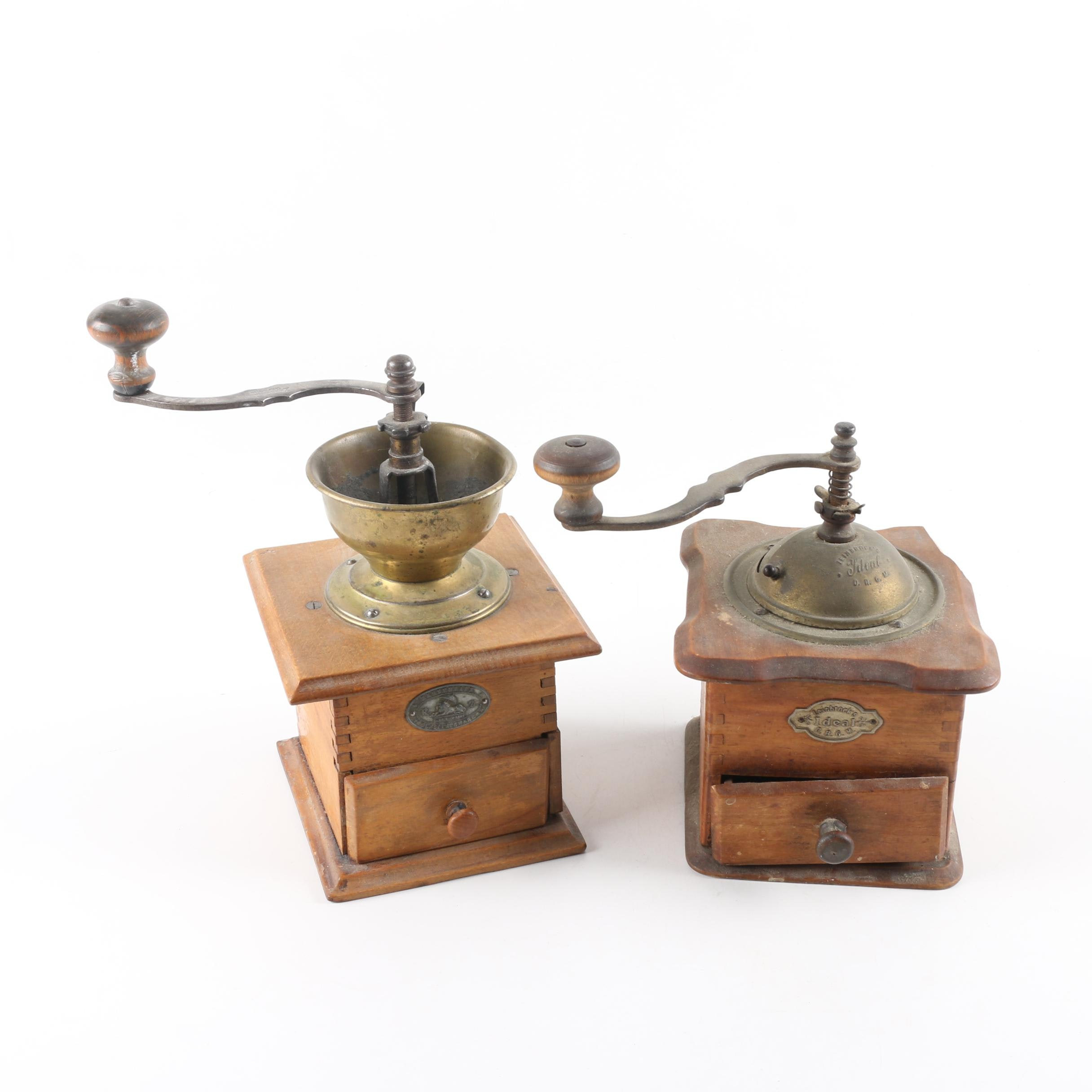 Antique Brass and Wood Coffee Grinders
