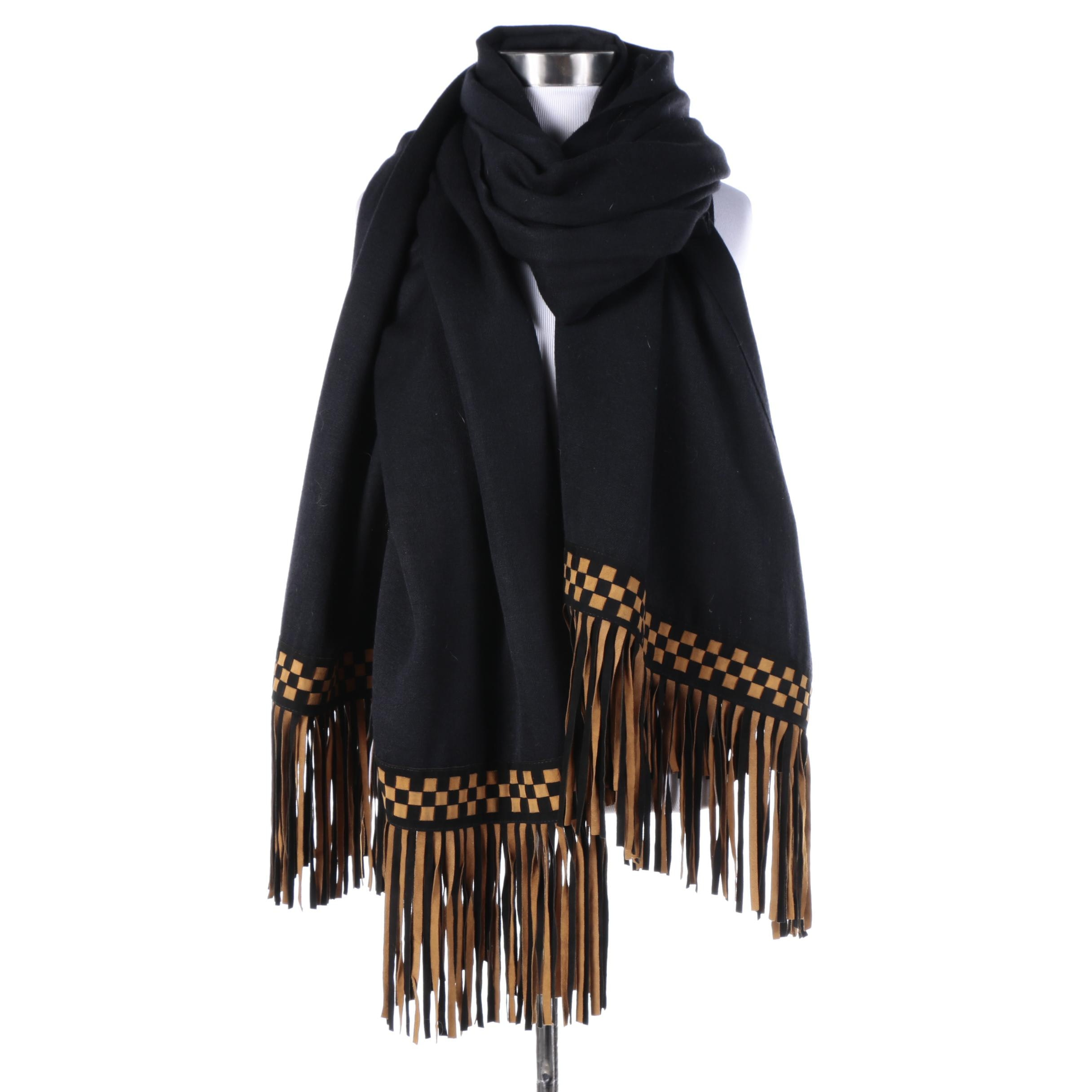 Flats Black Pashmina Silk Scarf with Woven Checkerboard Suede Fridge