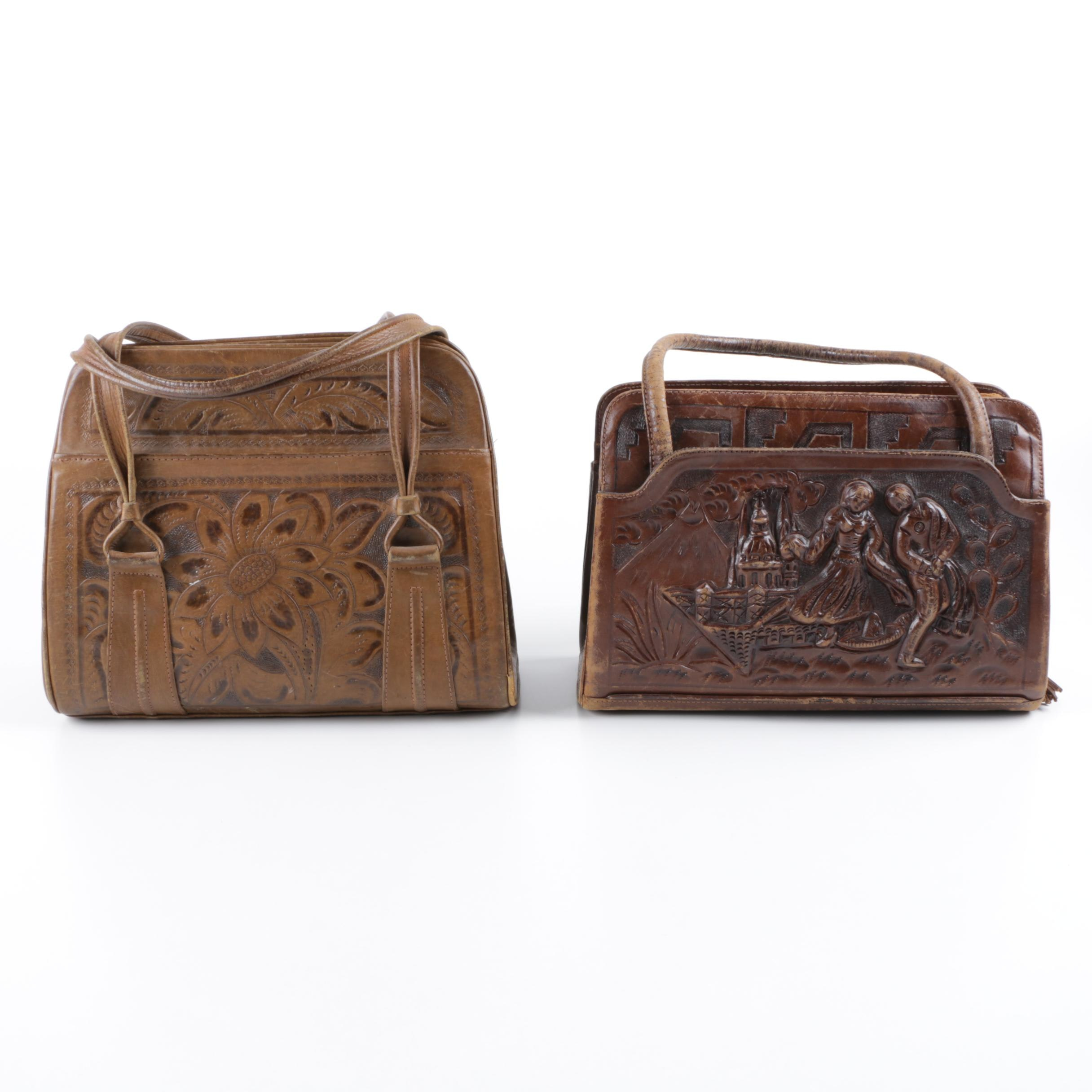 Vintage Mexican Hand Tooled Leather Handbags