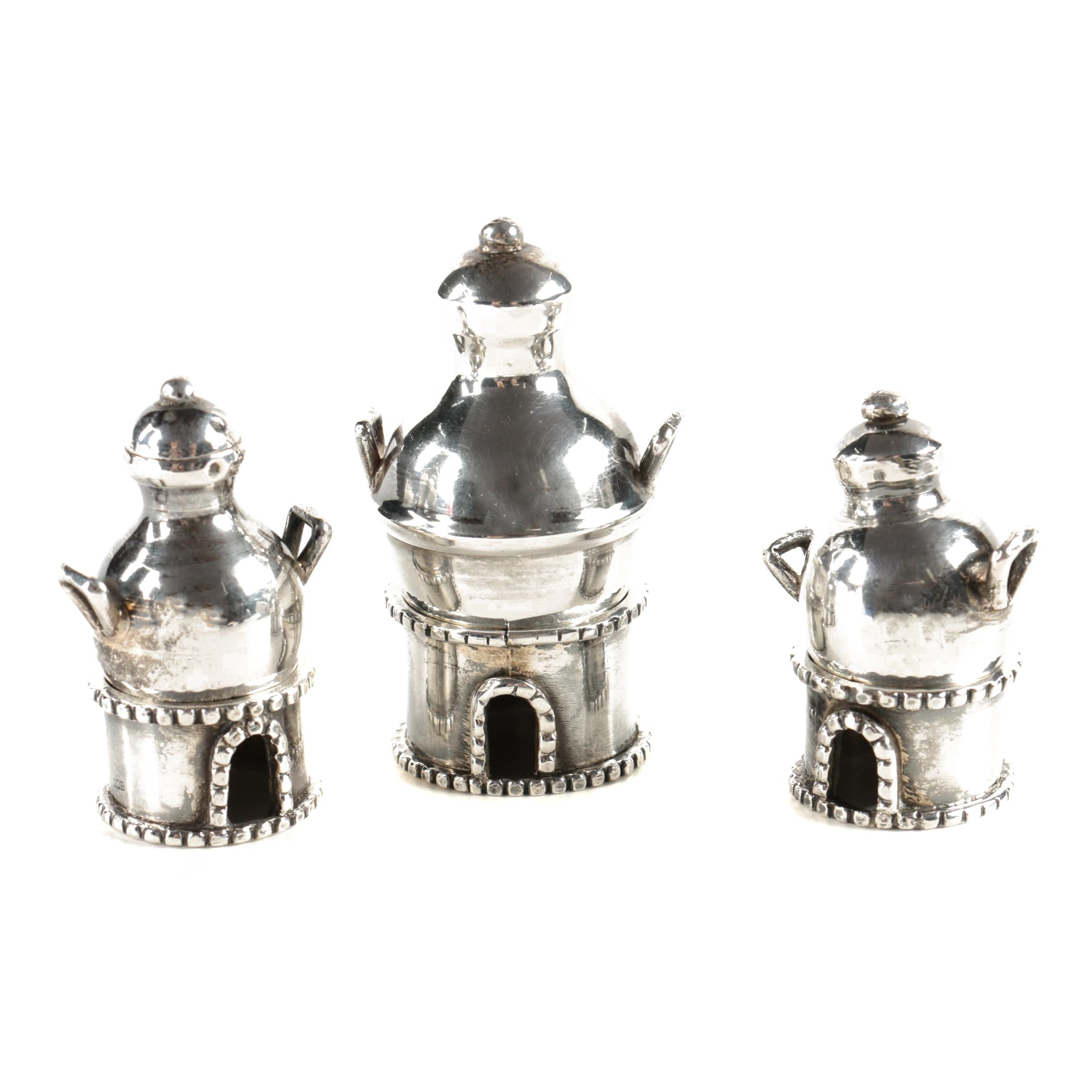 1920s Egyptian 800 Silver Condiment Jars and Napkin Rings
