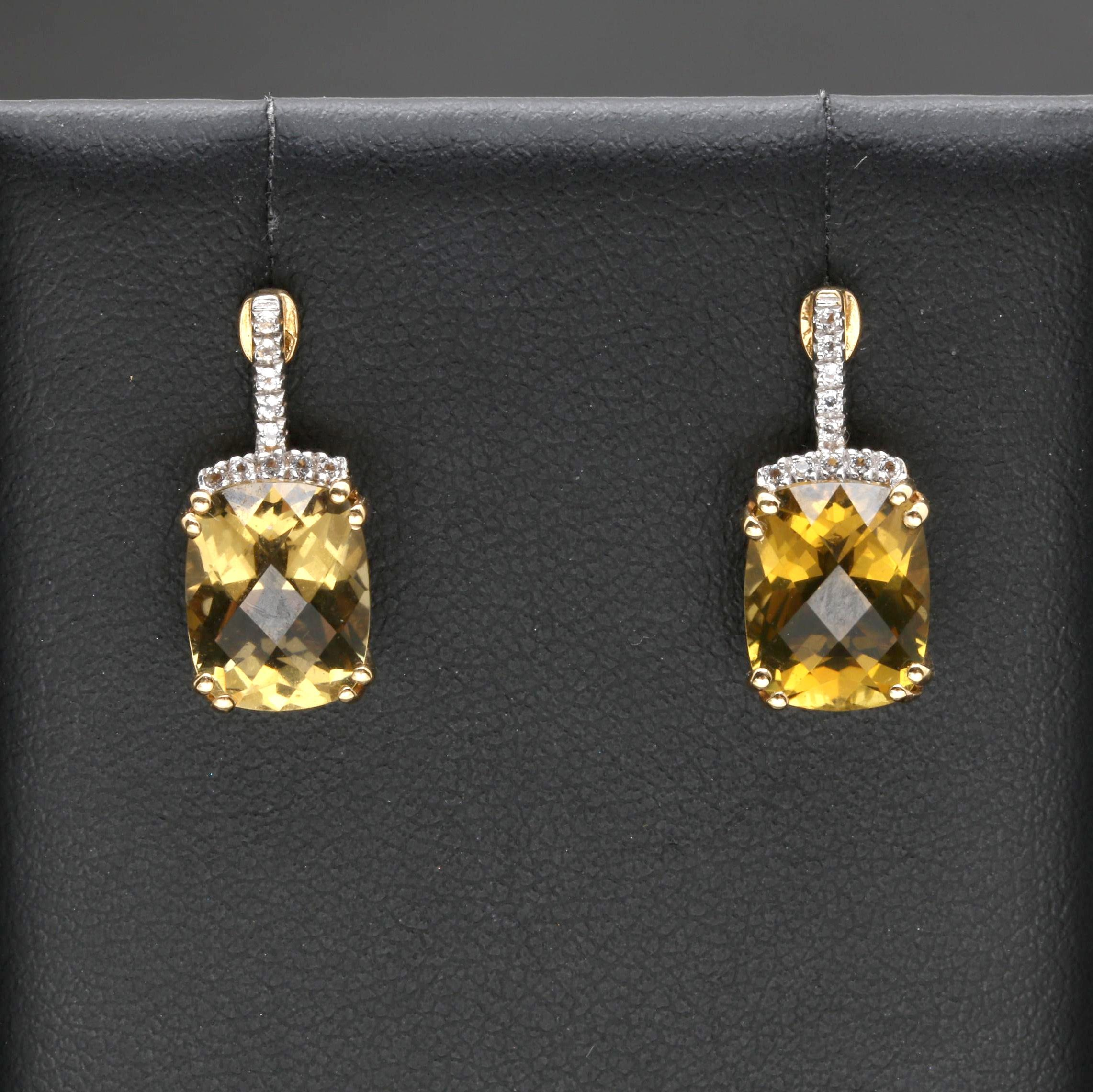 18K Yellow Gold Lemon Citrine and White Topaz Earrings