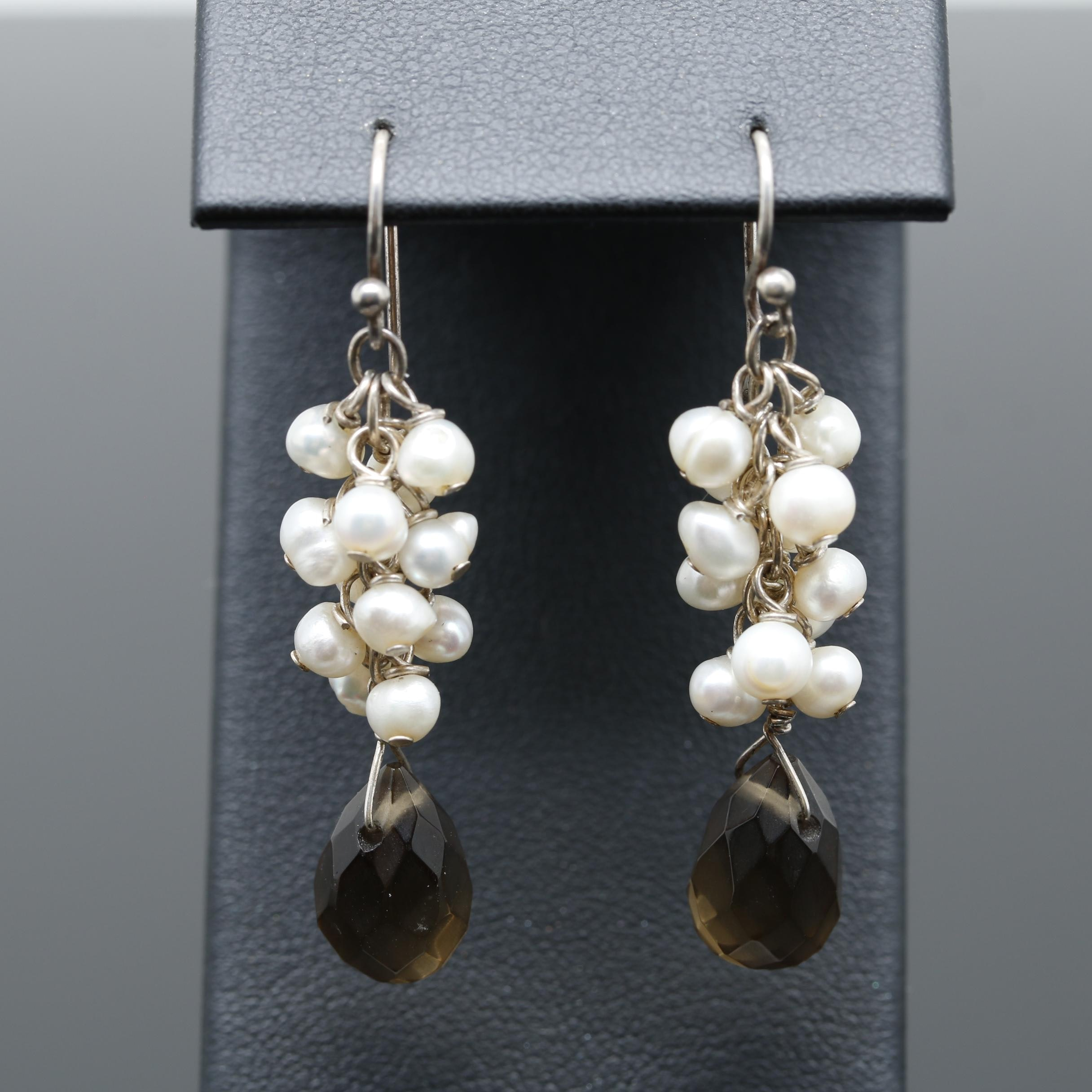 Sterling Silver Glass and Cultured Pearl Earrings