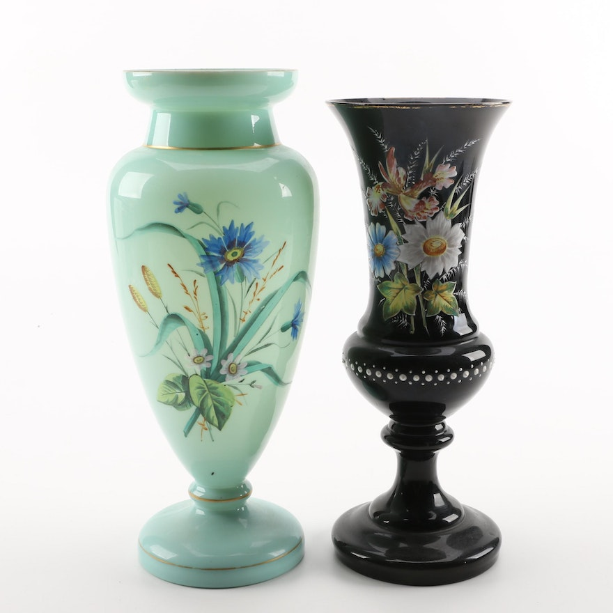 Pairing Of Victorian Hand Painted Glass Vases Ebth