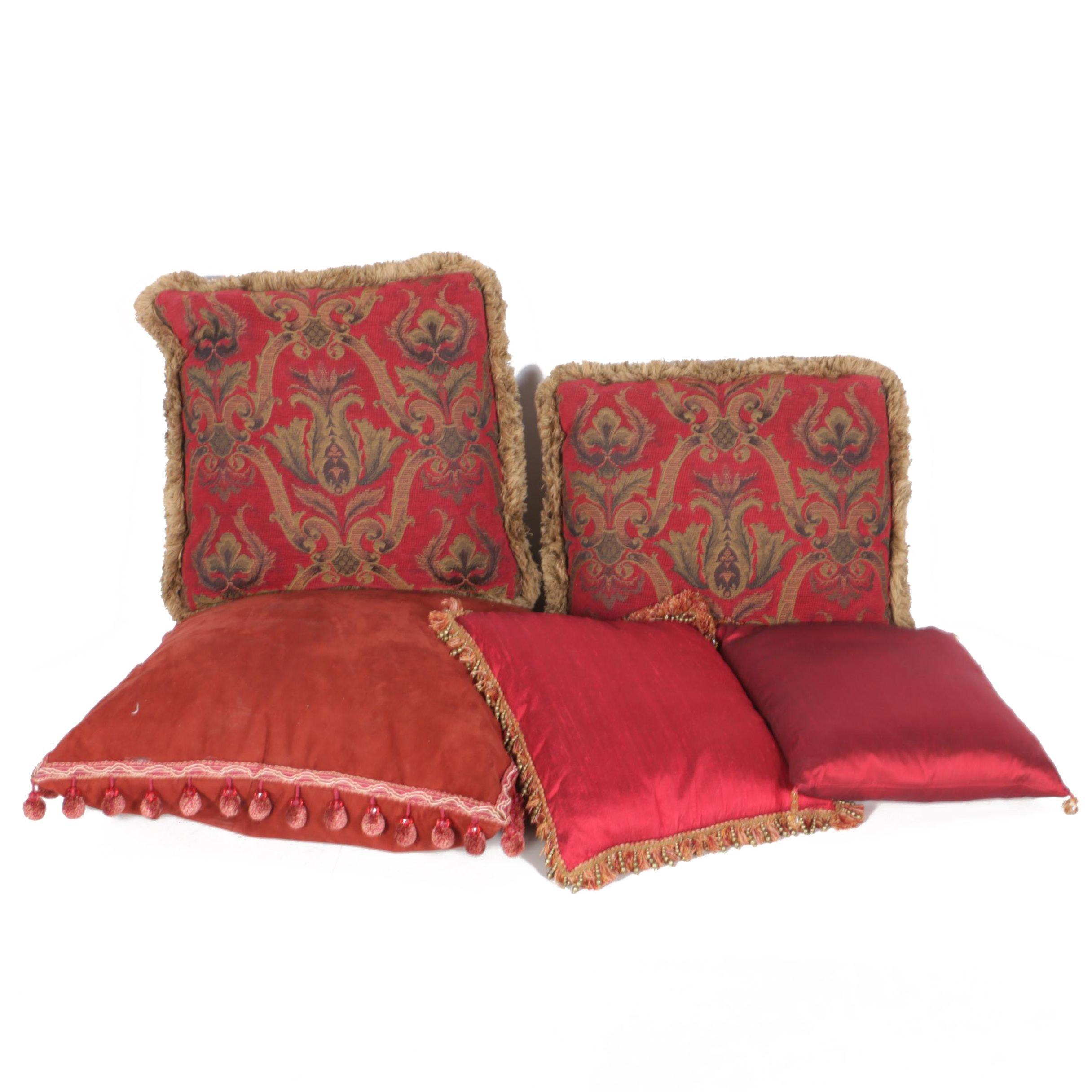 Red and Goldtone Accent Pillows with Fringe