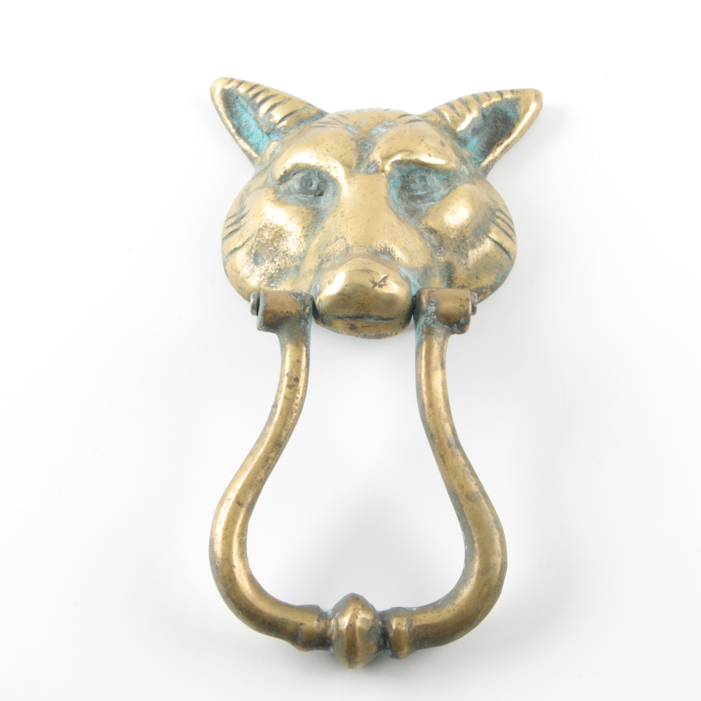 Vintage Brass Fox Head Door Knocker
