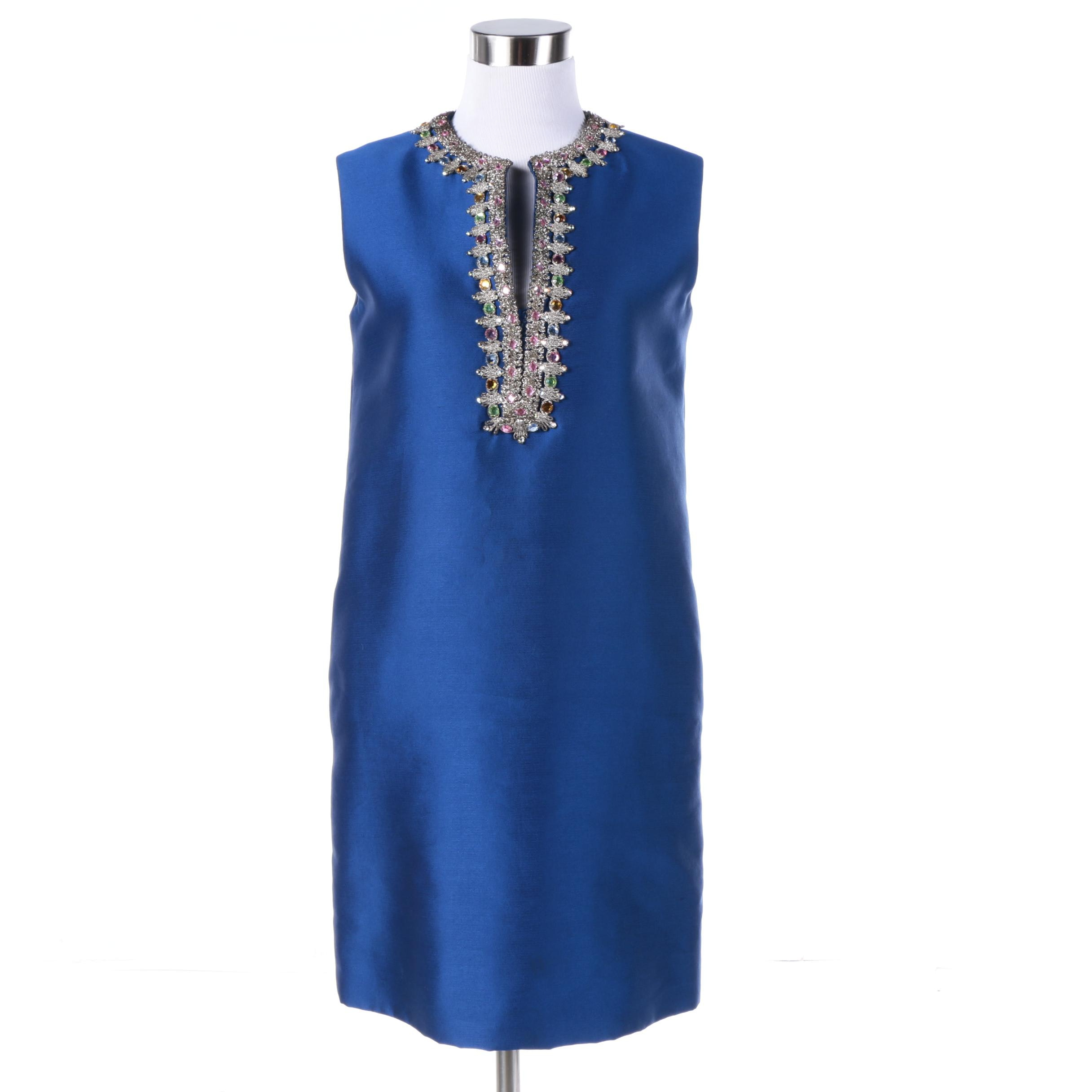 1960s Vintage Shift Dress with Embellished Neckline